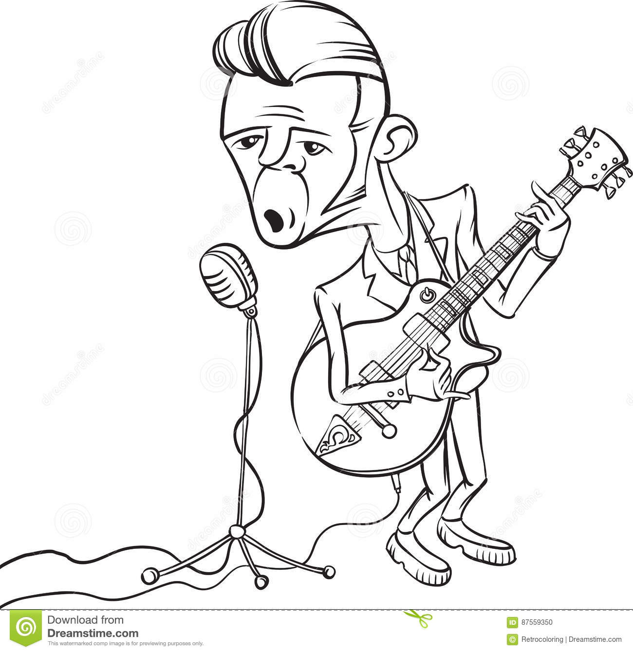 Dibujo De Whiteboard Guitarrista Del Rock And Roll Que