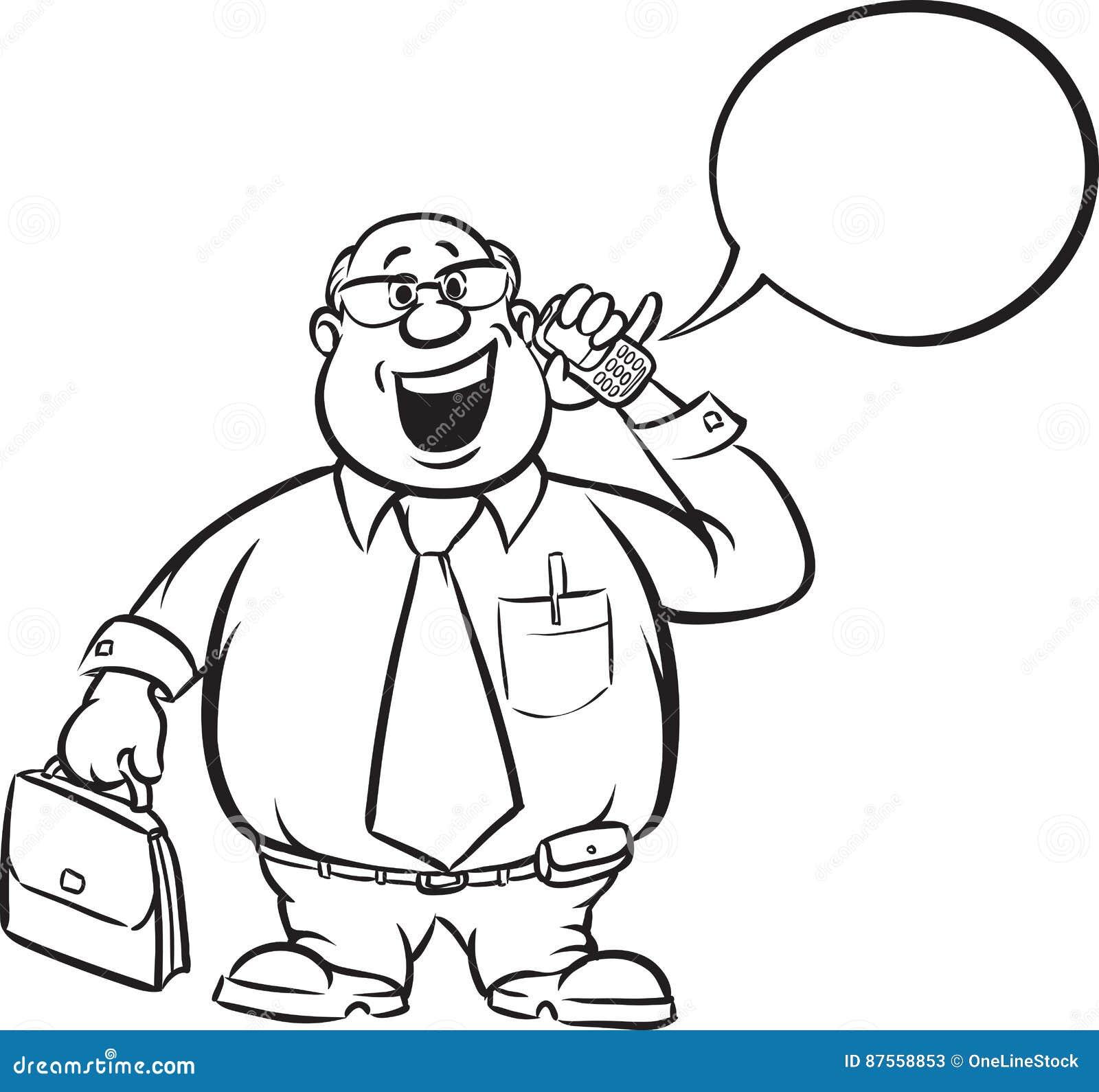 Dibujo De Whiteboard Hombre De Negocios Gordo De La Historieta Con