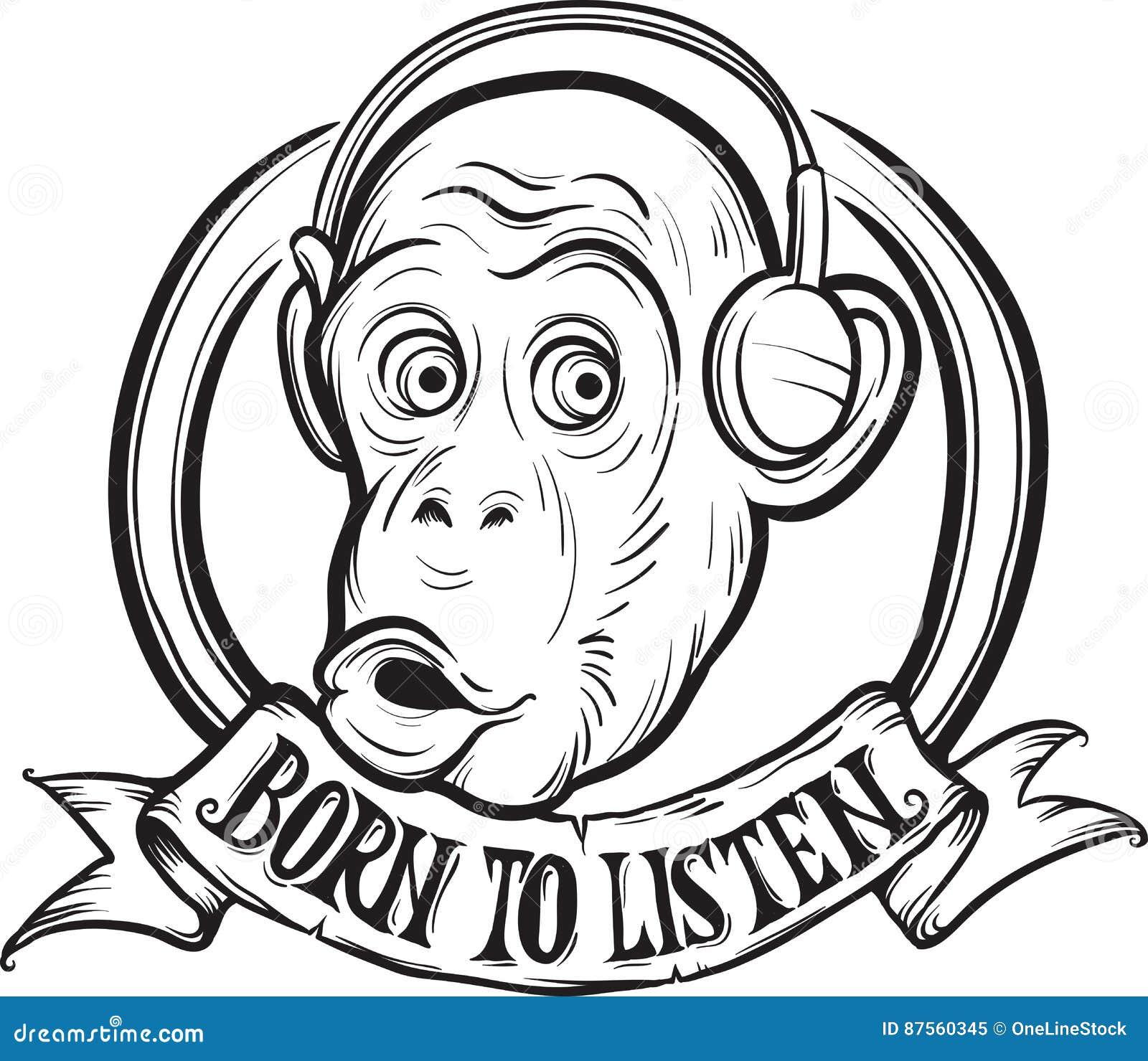 Dibujo De Whiteboard - Llevado Para Escuchar Chimpancé Ilustración ...