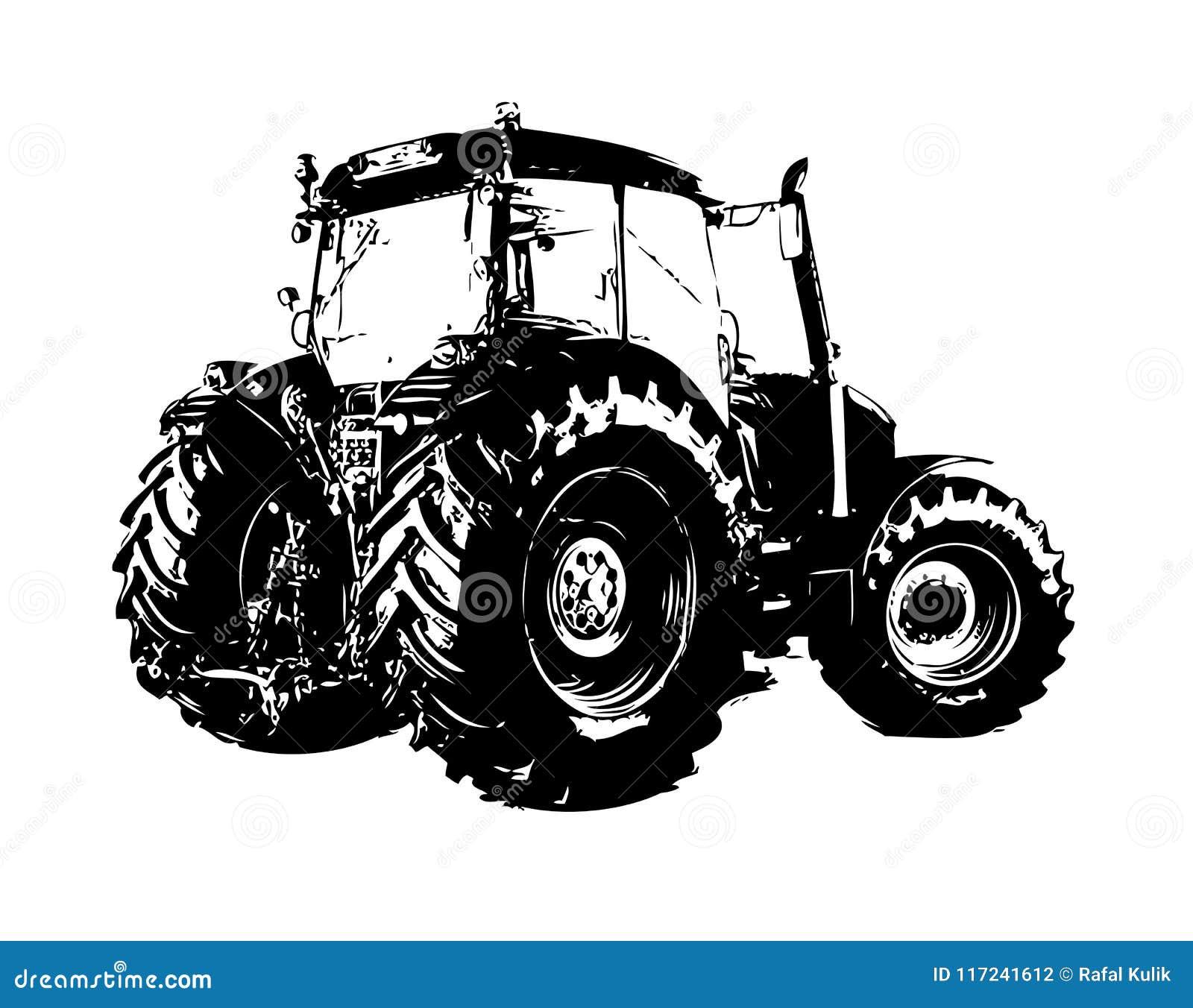 Dibujo Del Arte Del Color Del Ejemplo Del Tractor Agrícola Stock De