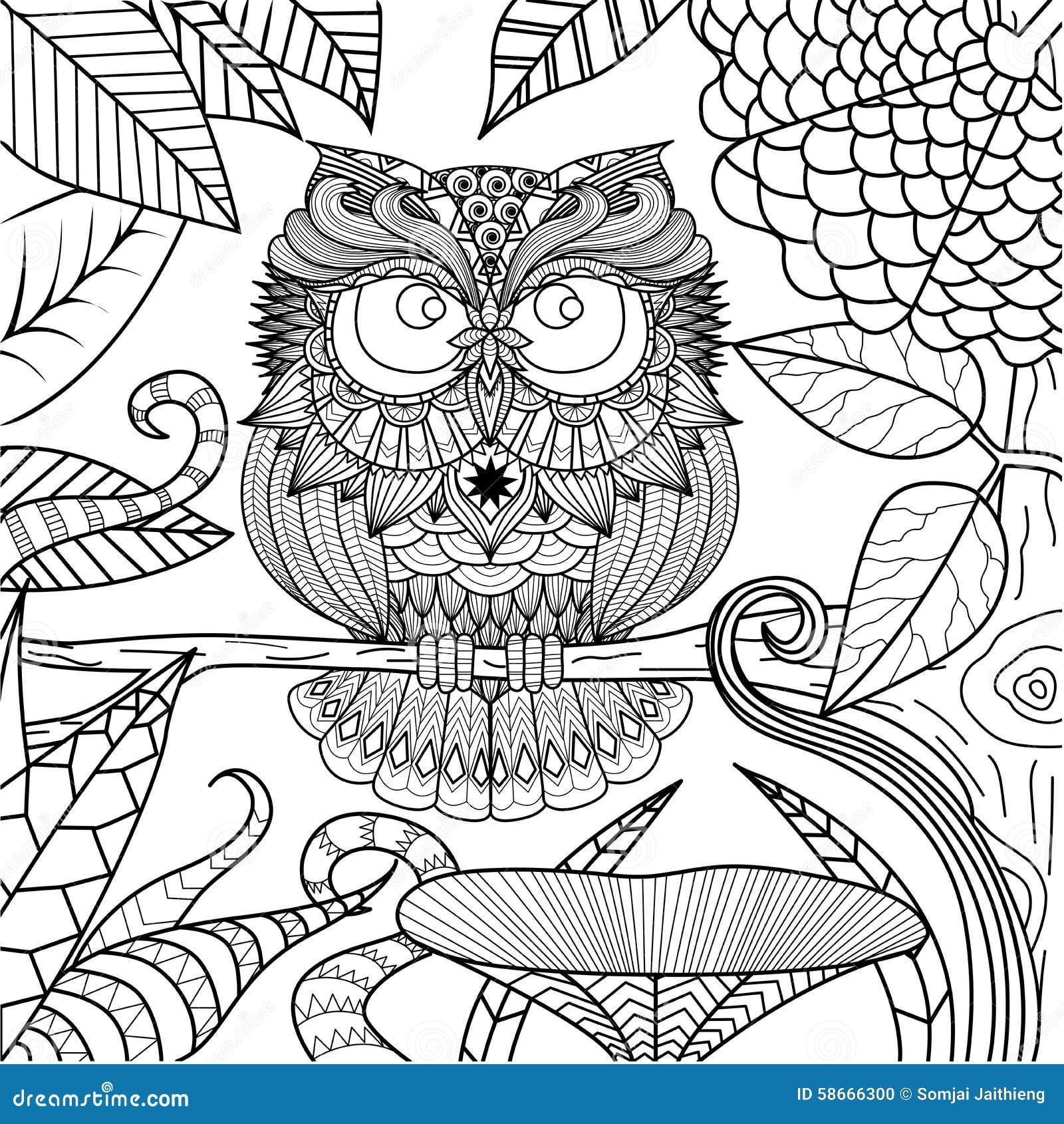 Dibujo Del Búho Para El Libro De Colorear Ilustración del Vector
