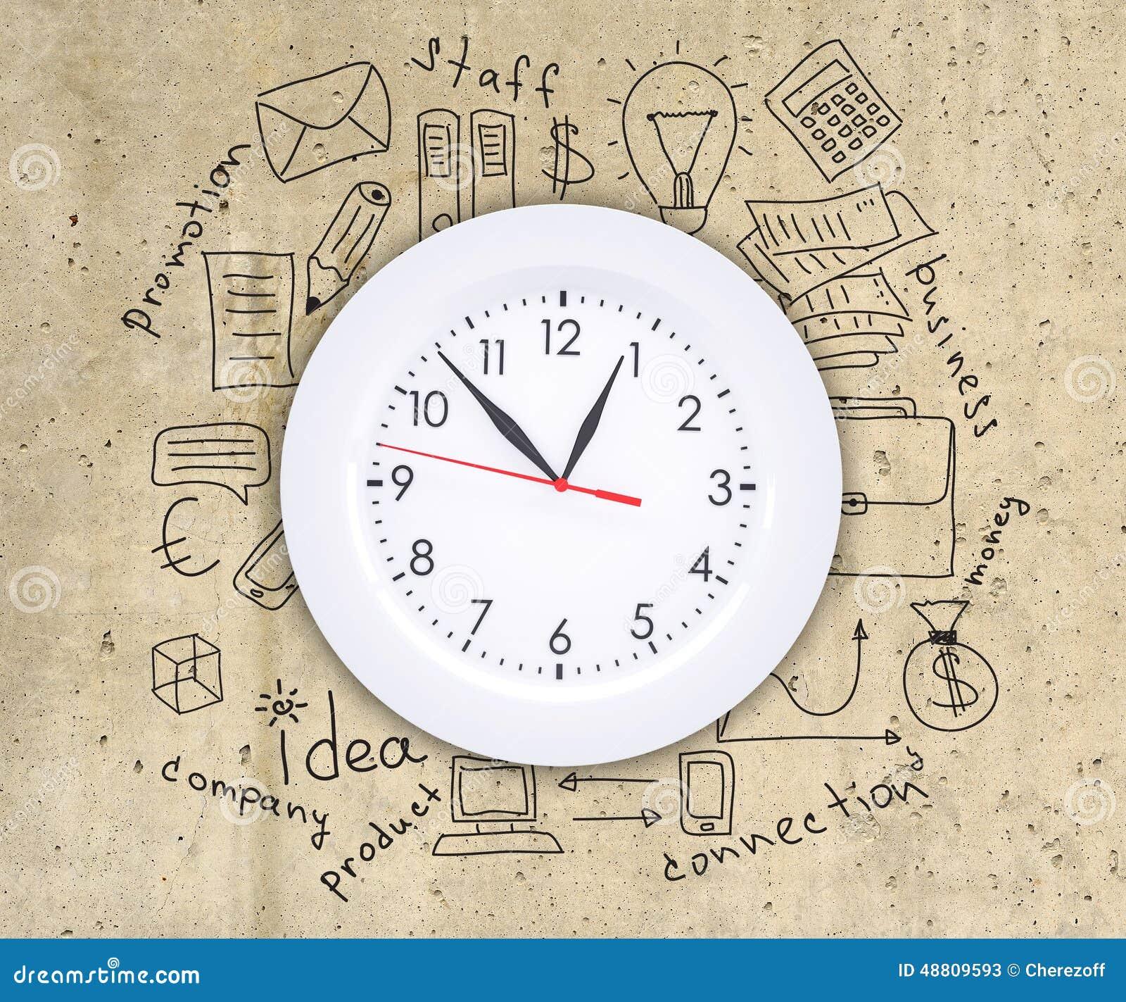 Dibujo Del Concepto Del Negocio Alrededor Del Reloj De Pared Imagen