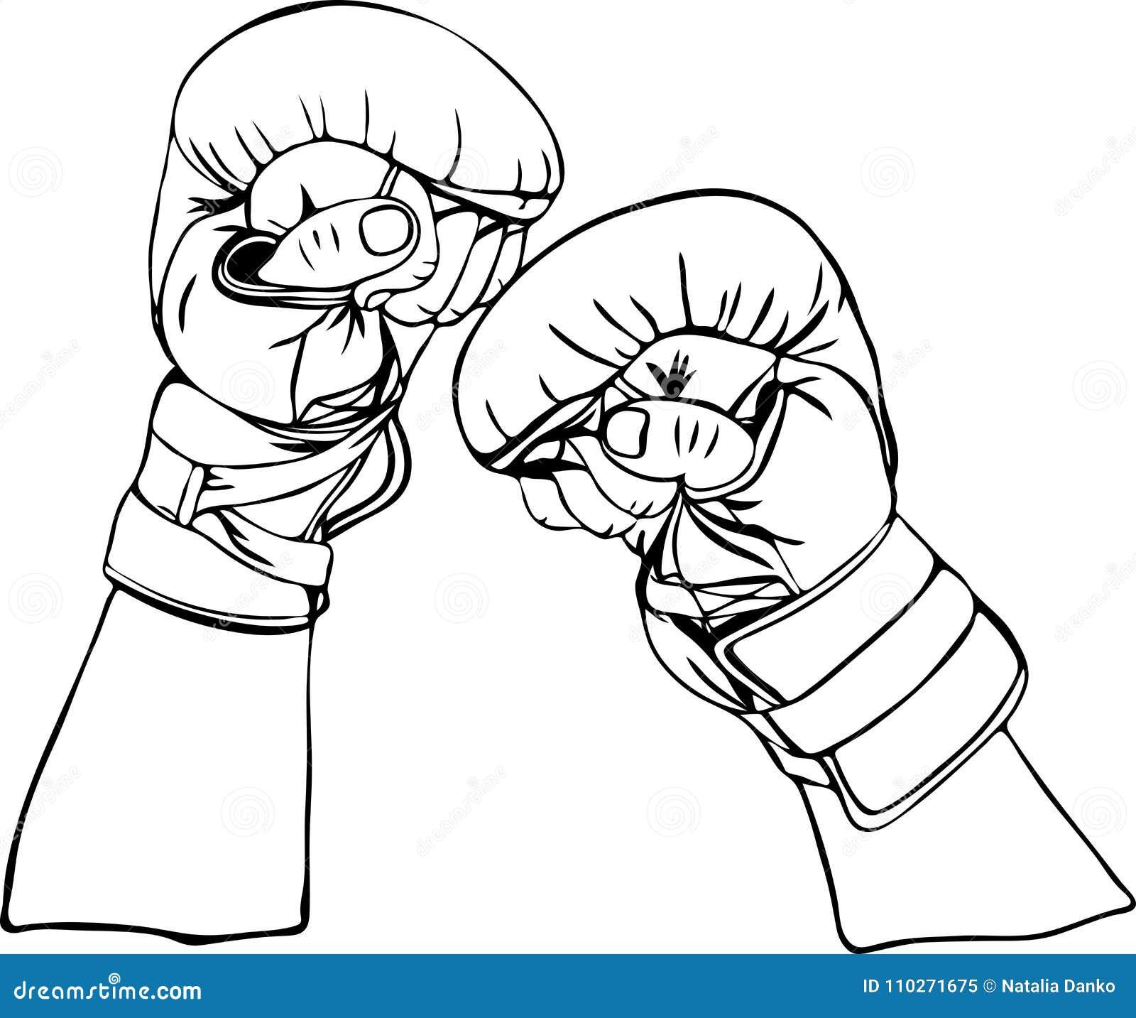 dibujo del contorno de manos en guantes de boxeo ilustración del