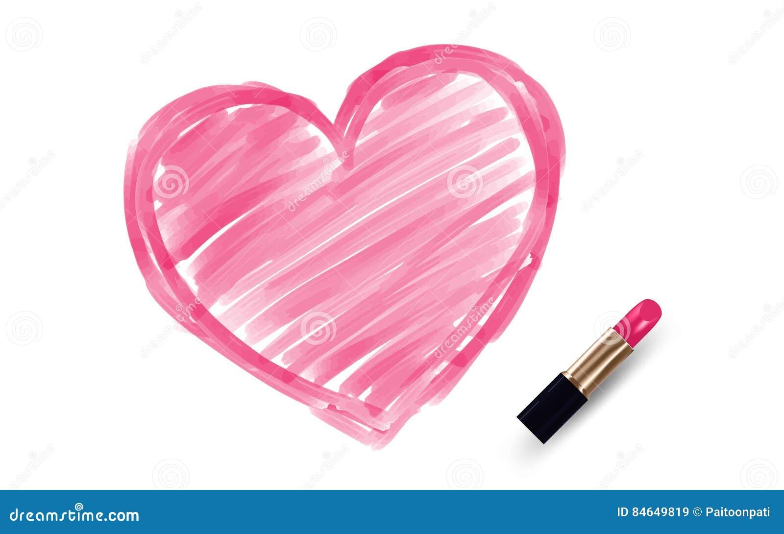 Dibujo Del Corazón Por Color Del Rosa Del Lápiz Labial Ilustración