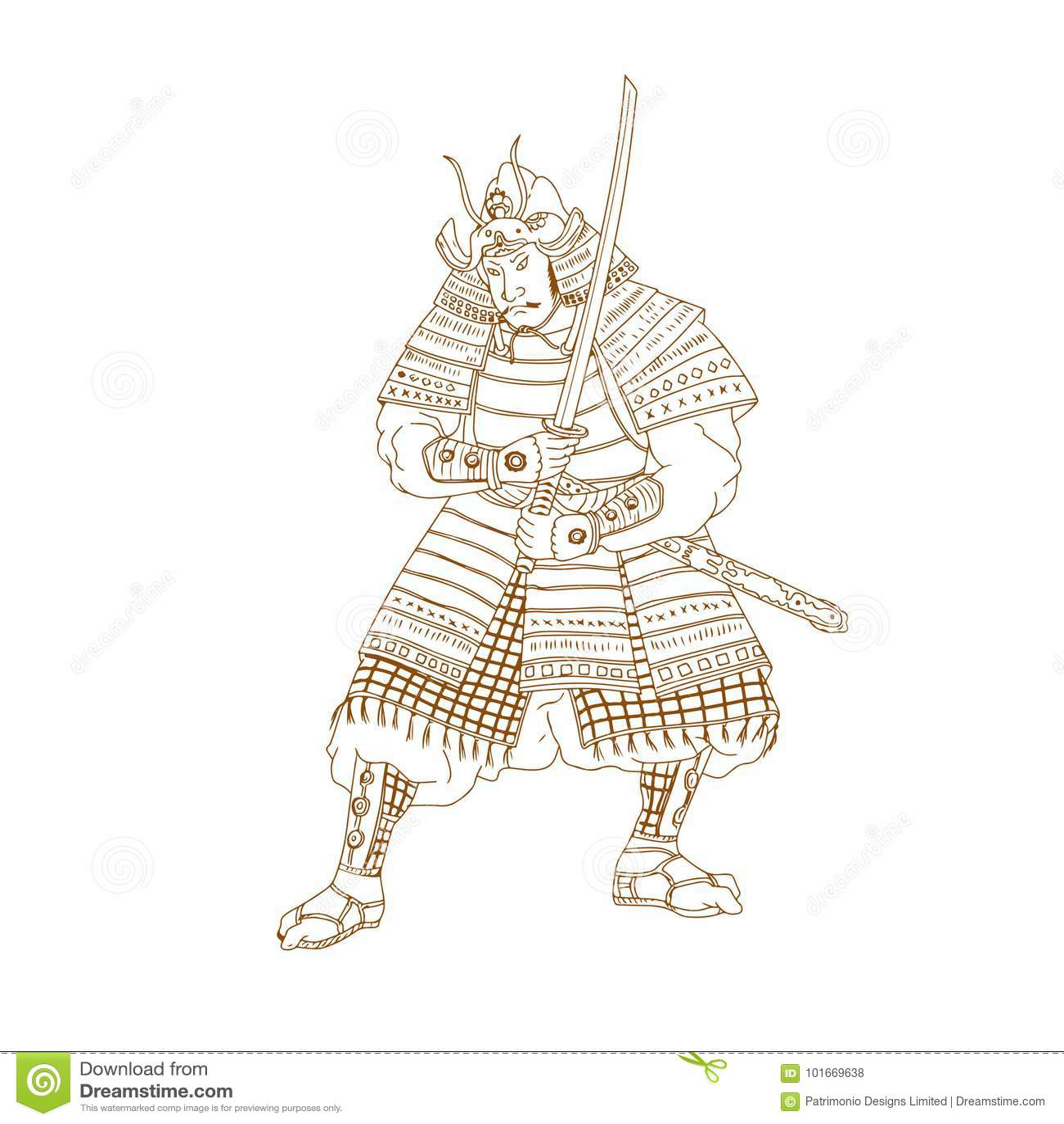 Dibujo Del Guerrero Del Samurai De Bushi Ilustracion Del Vector Ilustracion De Guerrero Samurai 101669638