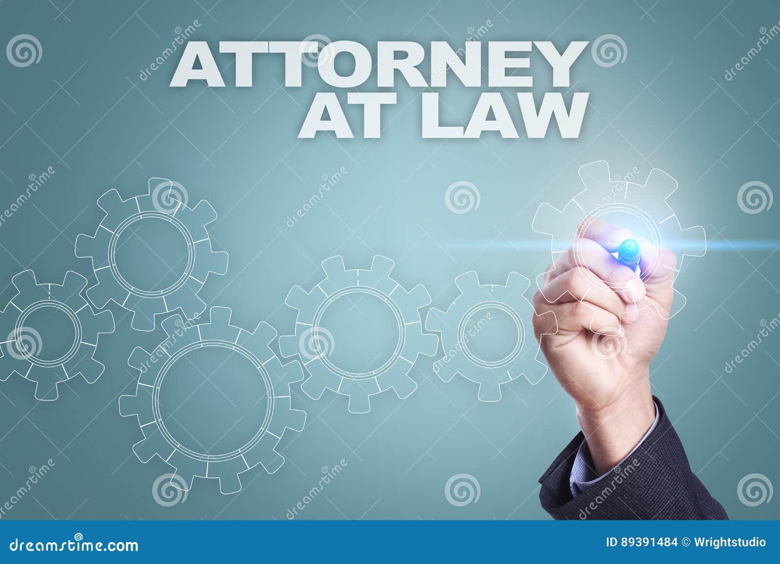 Dibujo del hombre de negocios en la pantalla virtual abogado en el concepto de la ley