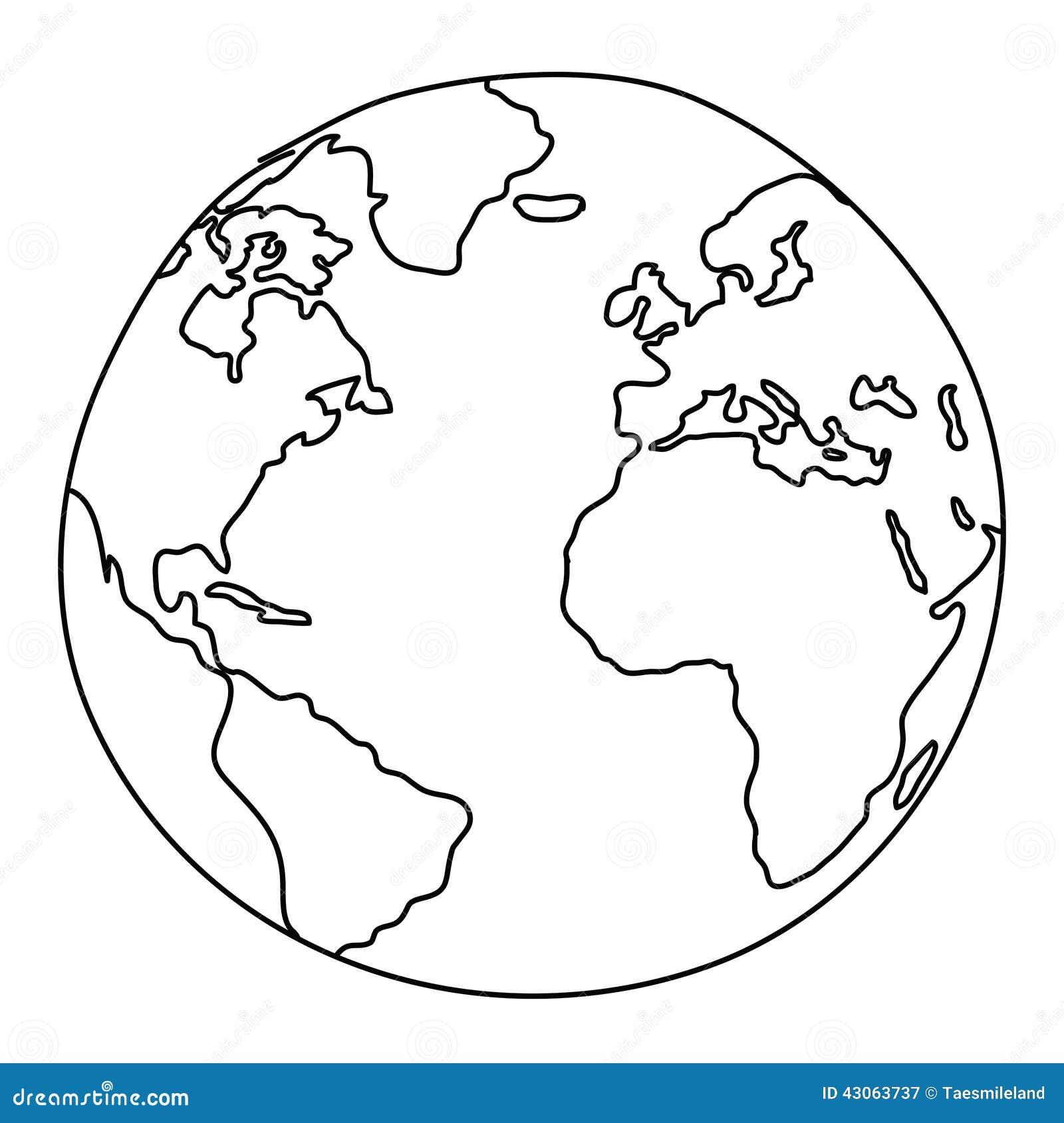 Dibujo Del Mundo Ilustración Del Vector Ilustración De Verde 43063737