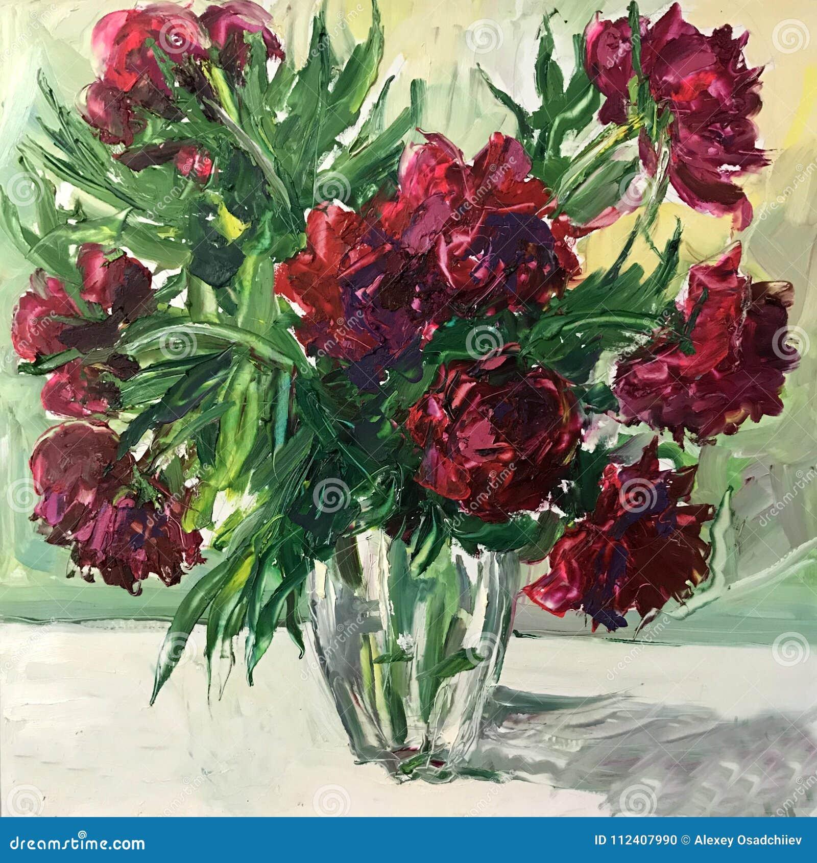 Dibujo Del Ramo De La Flor De Las Rosas Rojas Foto De Archivo