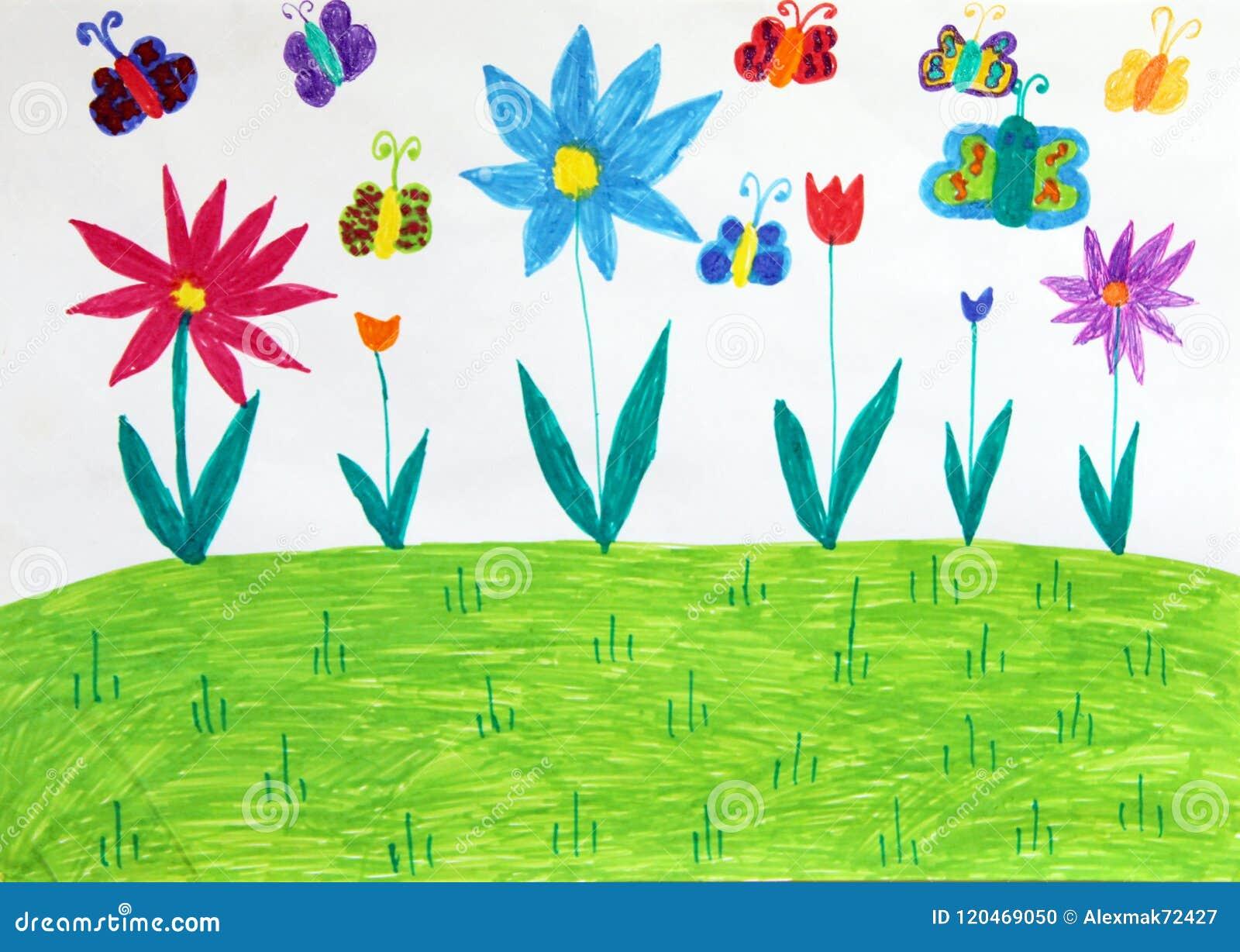 Dibujo Del S De Los Ninos Con Los Arboles Y Las Flores De Las