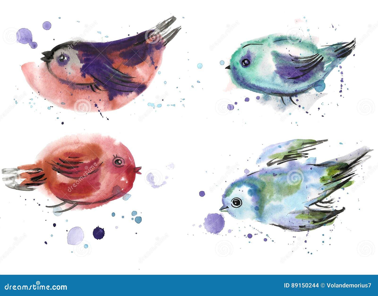Dibujo Del S De Los Niños Pájaros Pintados En Acuarela Stock De