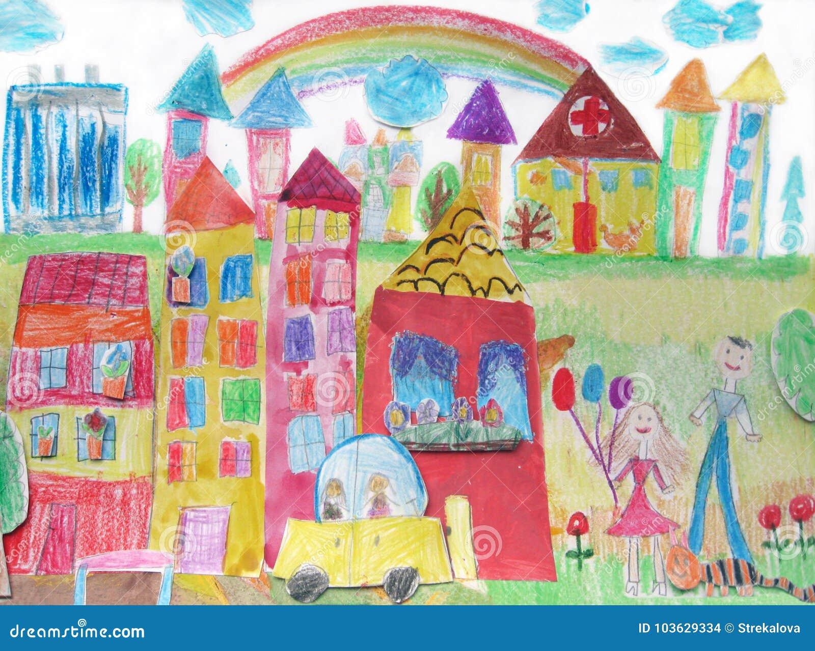Dibujo Del S Del Niño De La Familia Feliz En Un Paseo Y