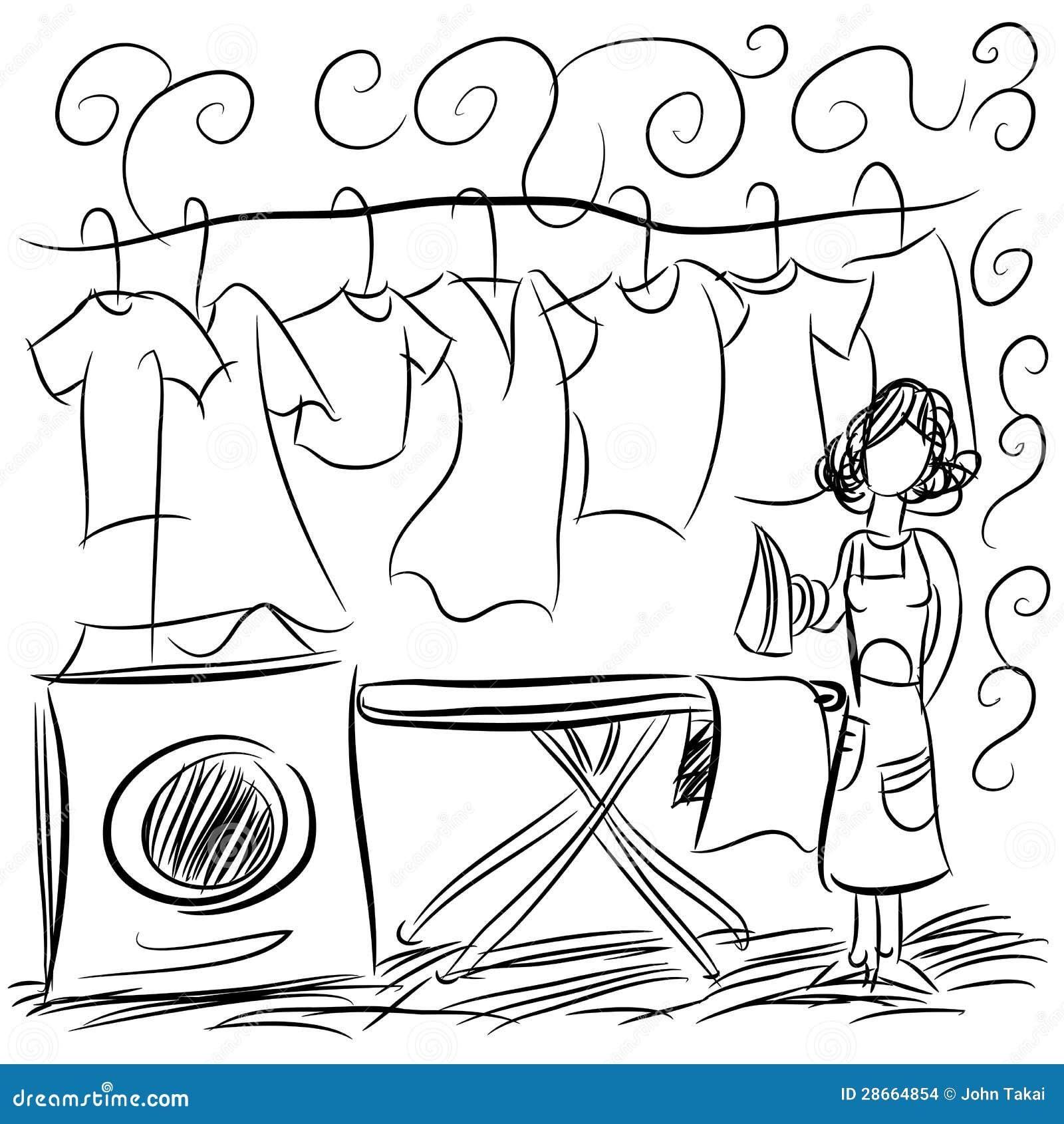 Dibujo del servicio de lavadero ilustraci n del vector for Imagen de lavaderos para casas