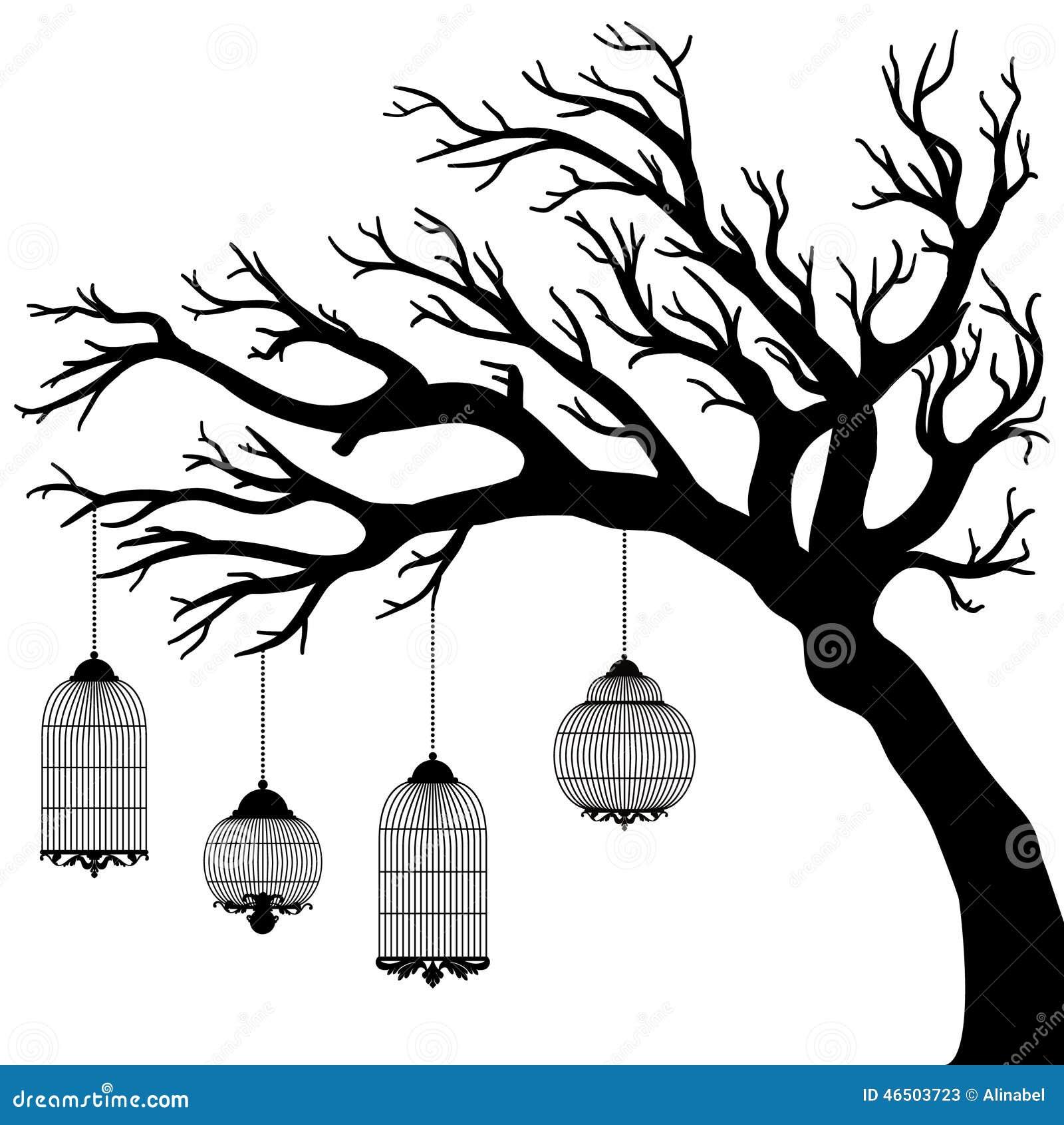 Dibujo del vector del rbol con las jaulas ilustraci n del - Dibujos de vinilo para paredes ...