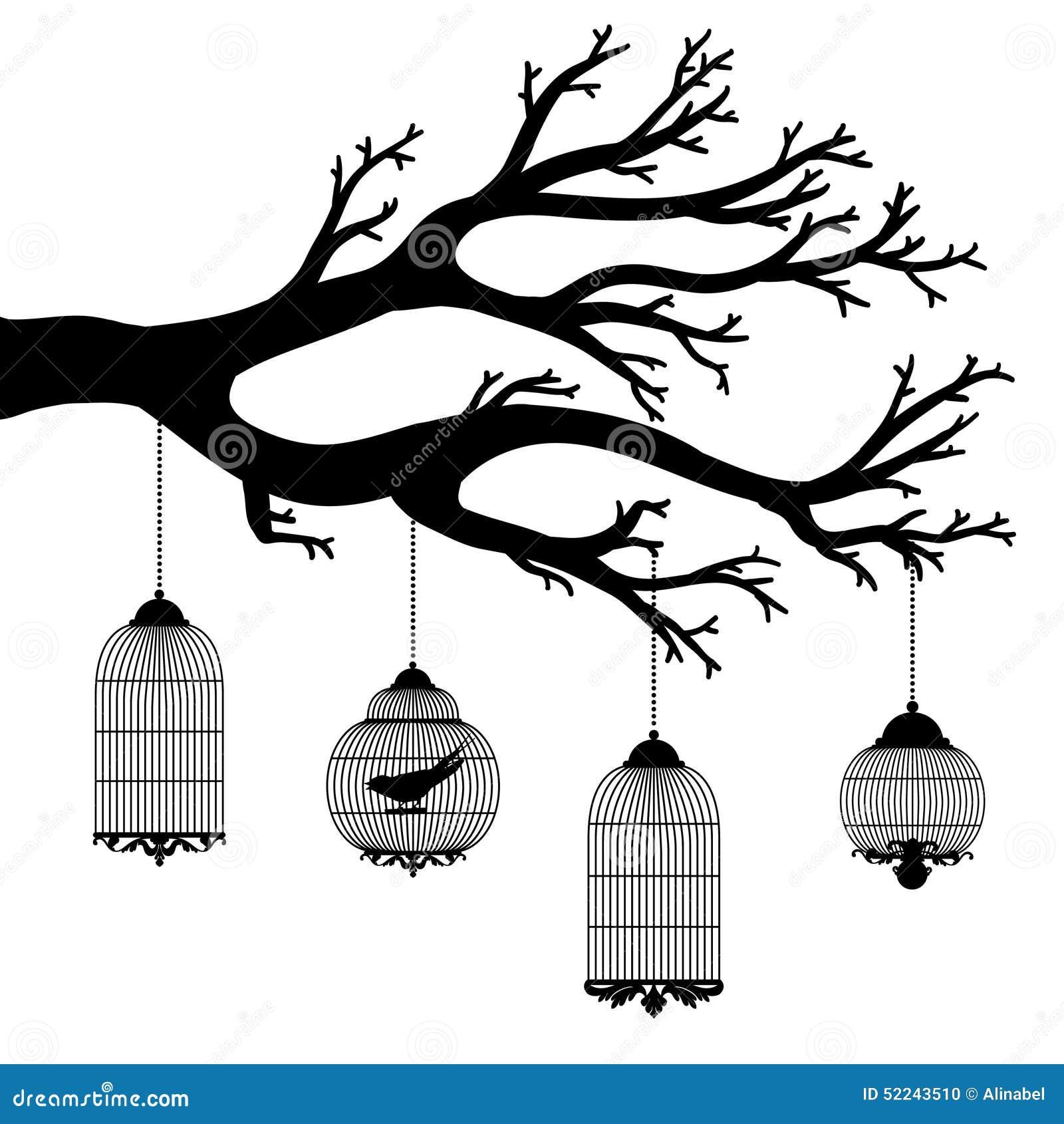Dibujo Del Vector Del árbol Con Las Jaulas Ilustración Del Vector