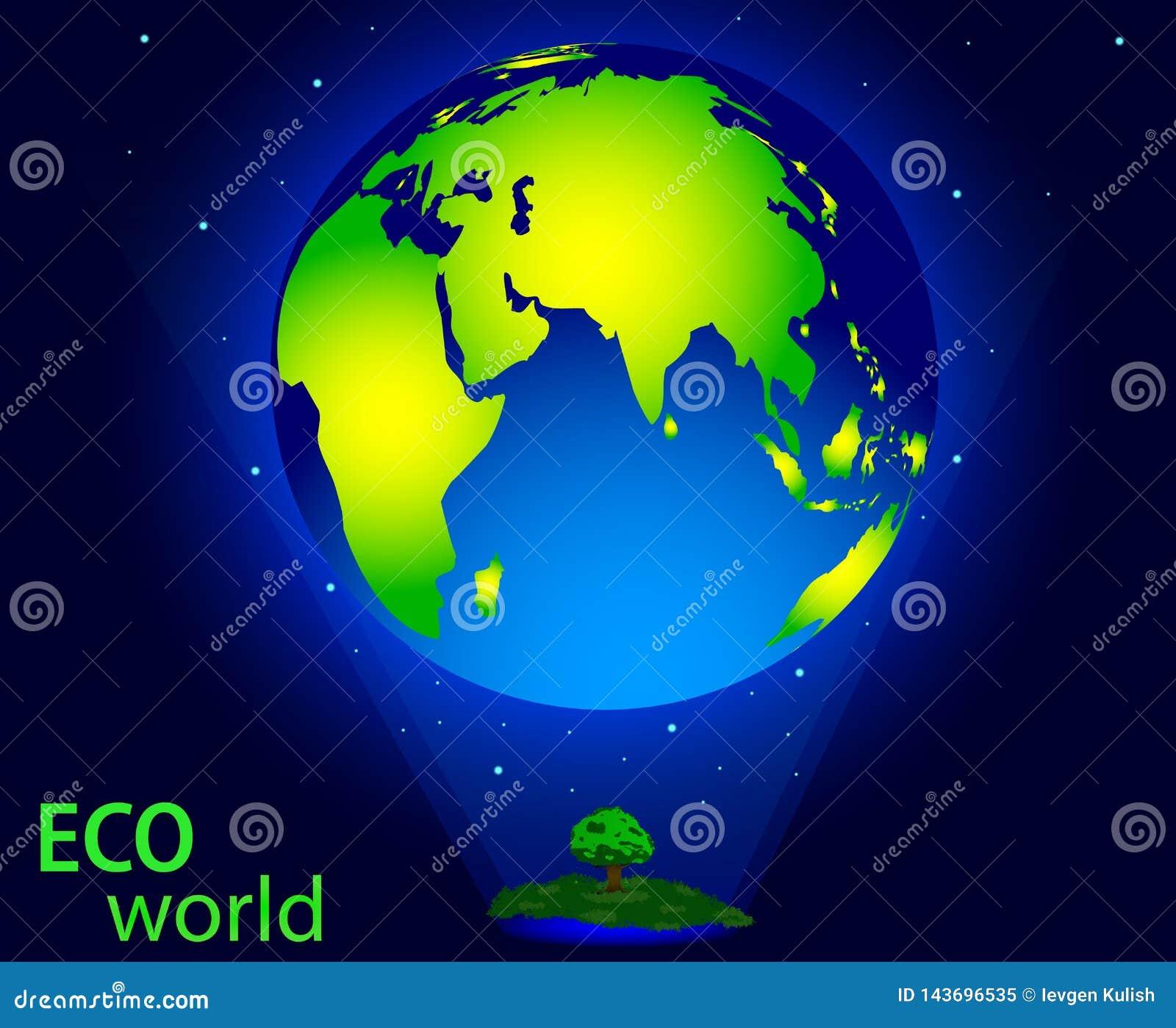 Dibujo del vector del mundo del eco, de la naturaleza de ahorro y del ambiente