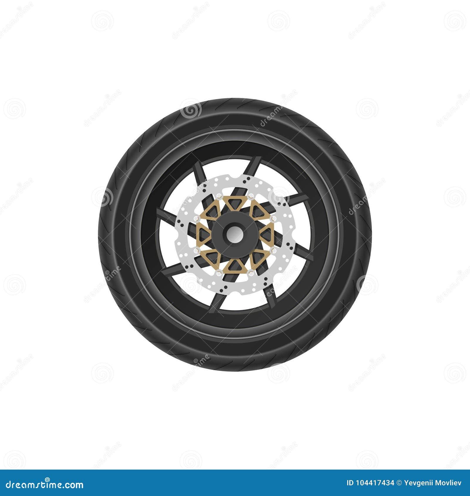 Dibujo detallado de la rueda de la motocicleta Imagen realista del detalle de la bici Parte del mecanismo del vehículo