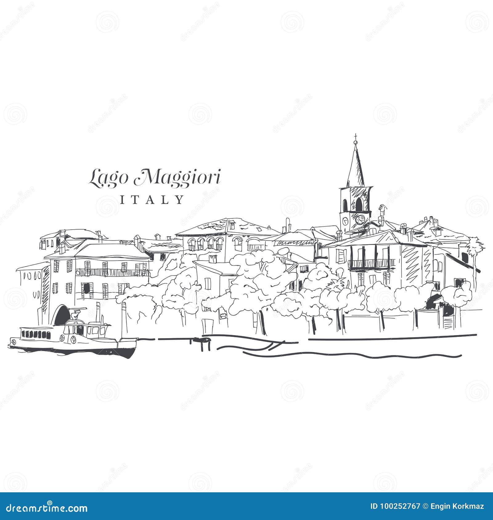 Dibujo digital a pulso de Lago Maggiore, Italia
