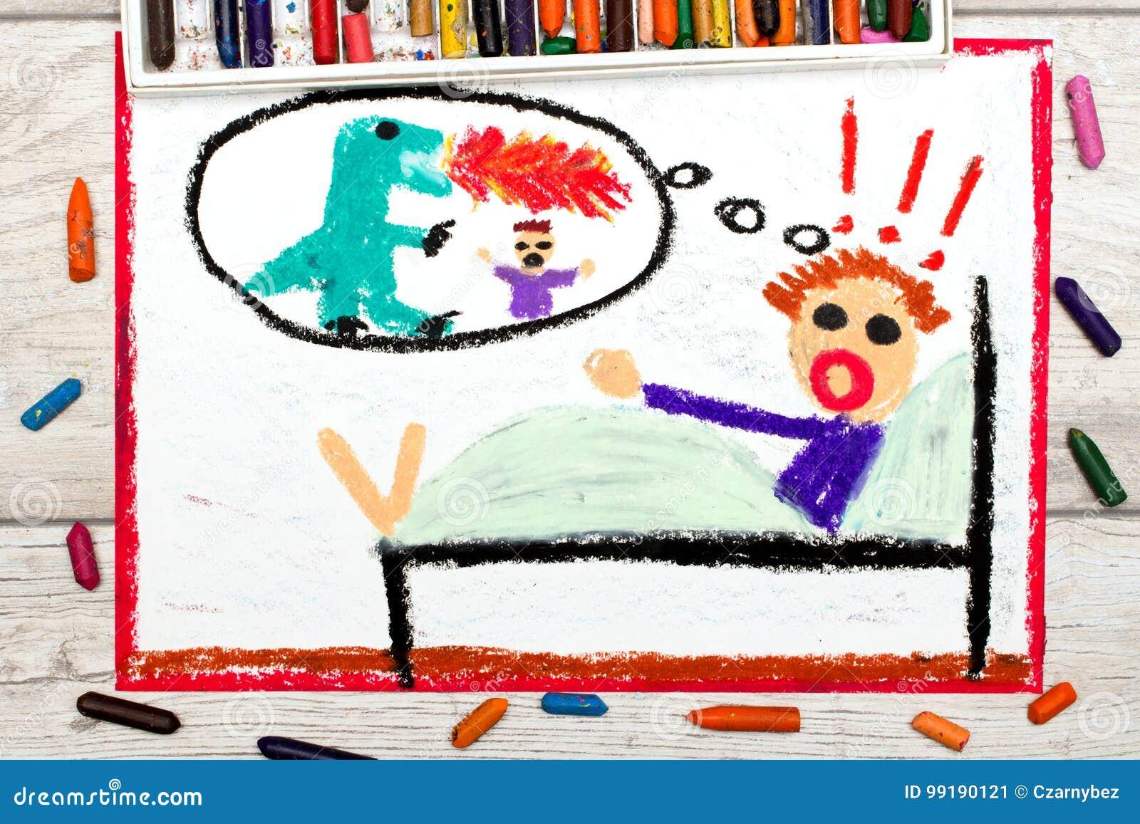 Dibujo: el niño pequeño tiene pesadillas Criatura asustadiza de la pesadilla