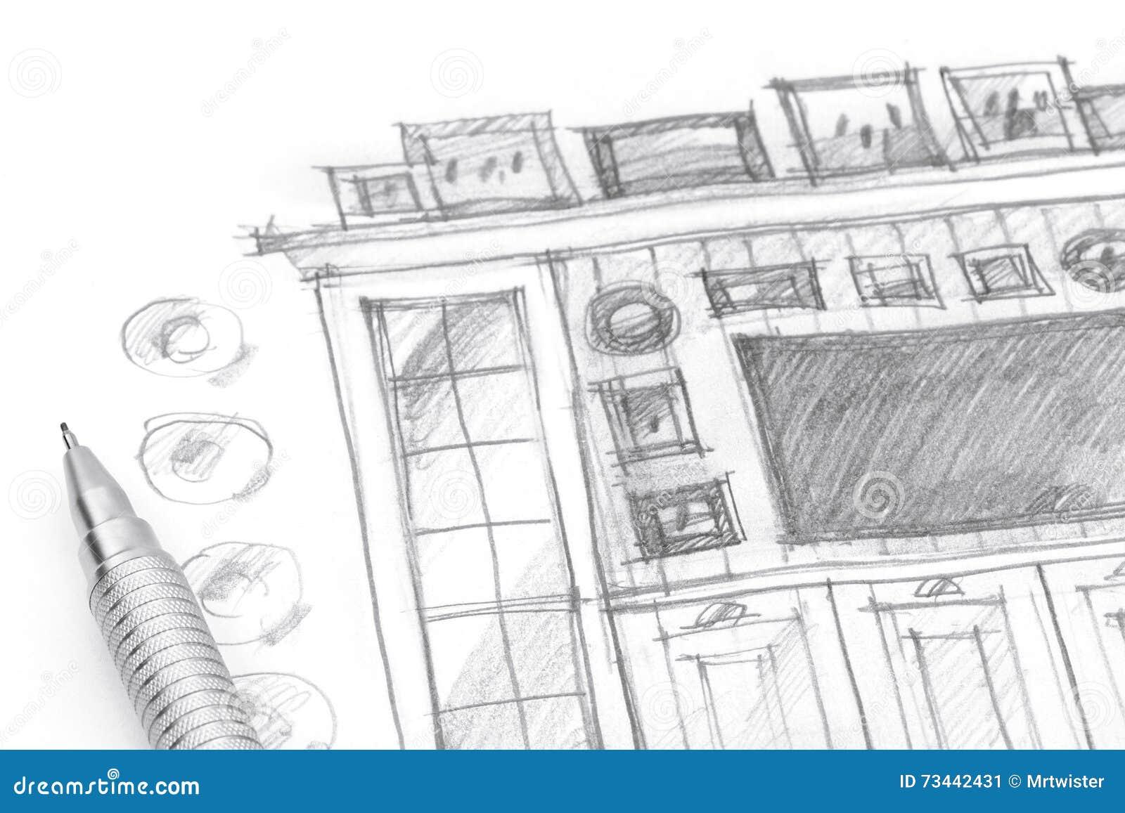 dibujo en blanco y negro de una idea para el sitio de los nios con muebles