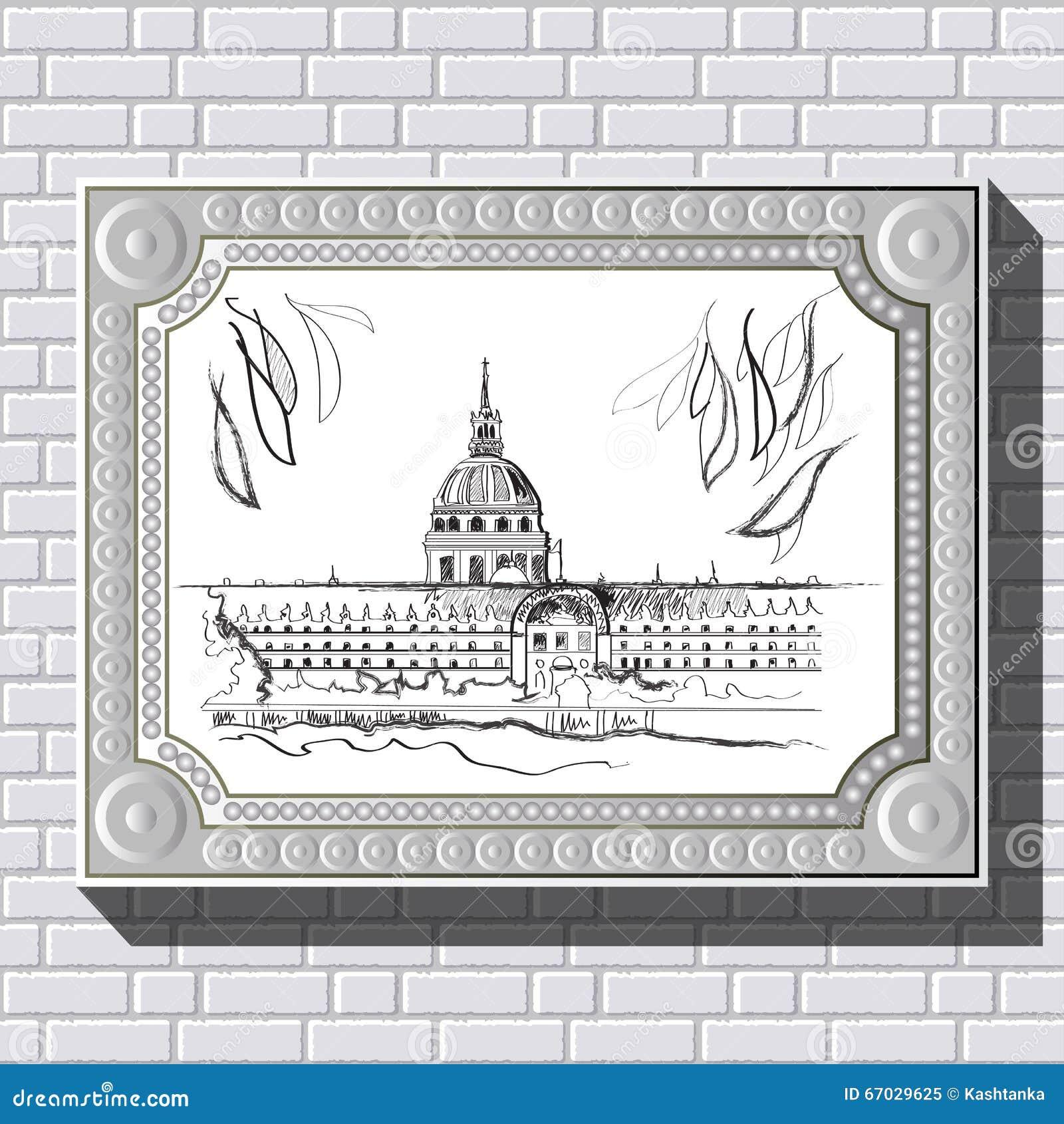 Dibujo En Una Pared De Ladrillo En El Marco 39 Ilustración del ...