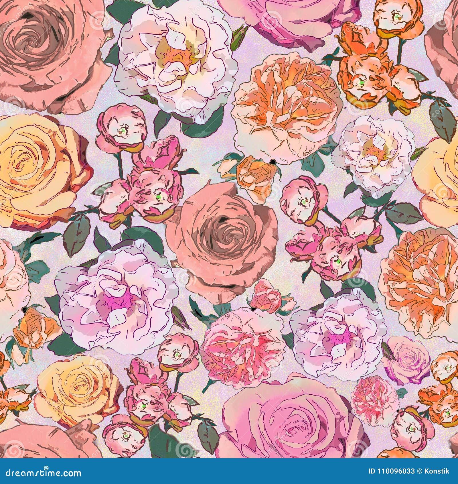 Dibujo Inconsútil Del Fondo Flores Color De Rosa Stock De