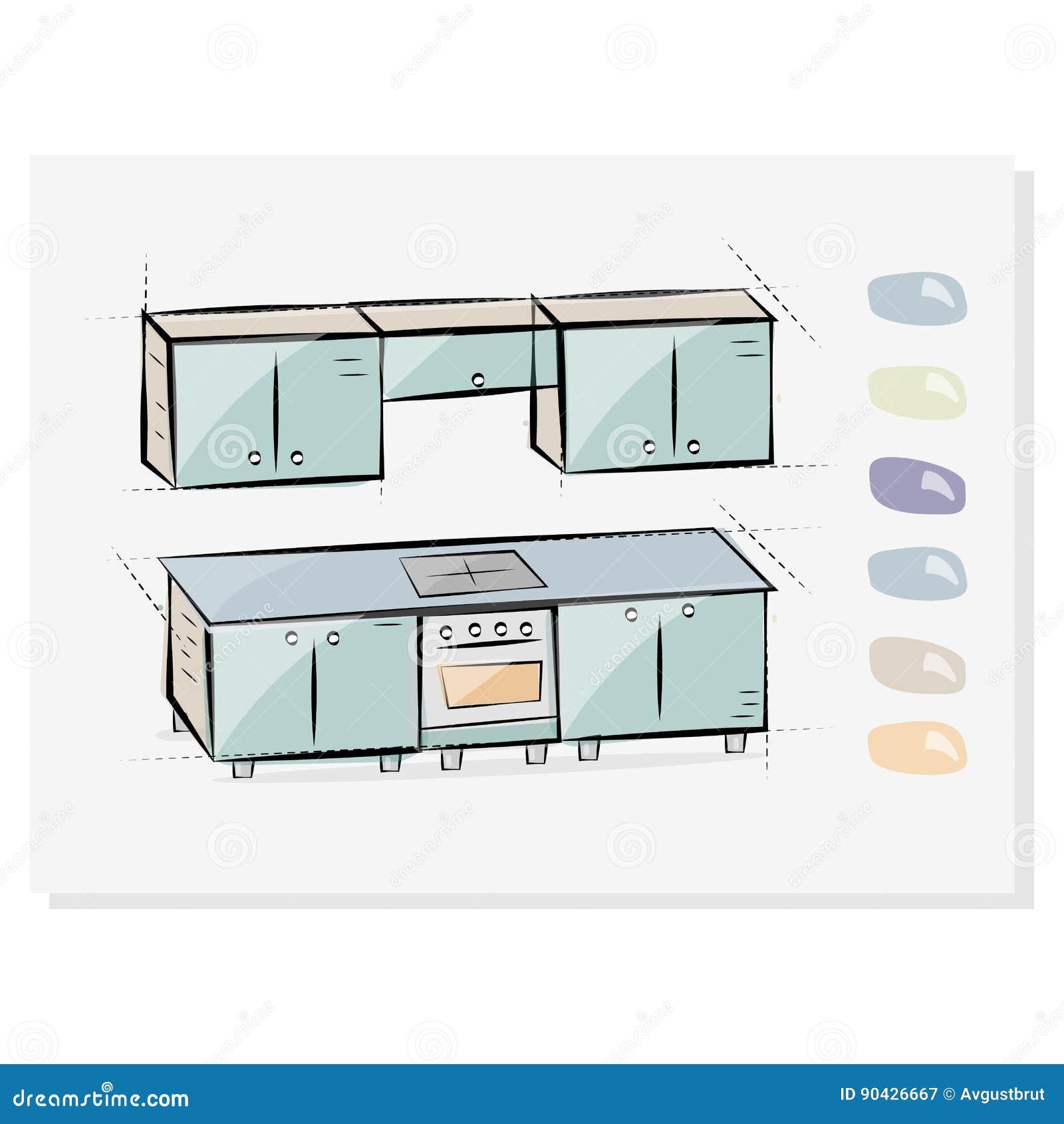 Dibujo Interior De La Cocina, Ejemplo Botón Que Elige Colores De Los ...