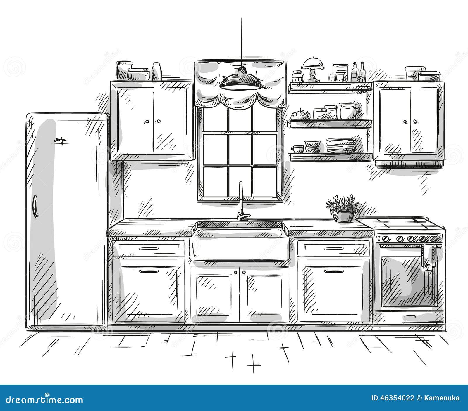 Dibujo interior de la cocina ejemplo del vector for Dibujos sobre cocina