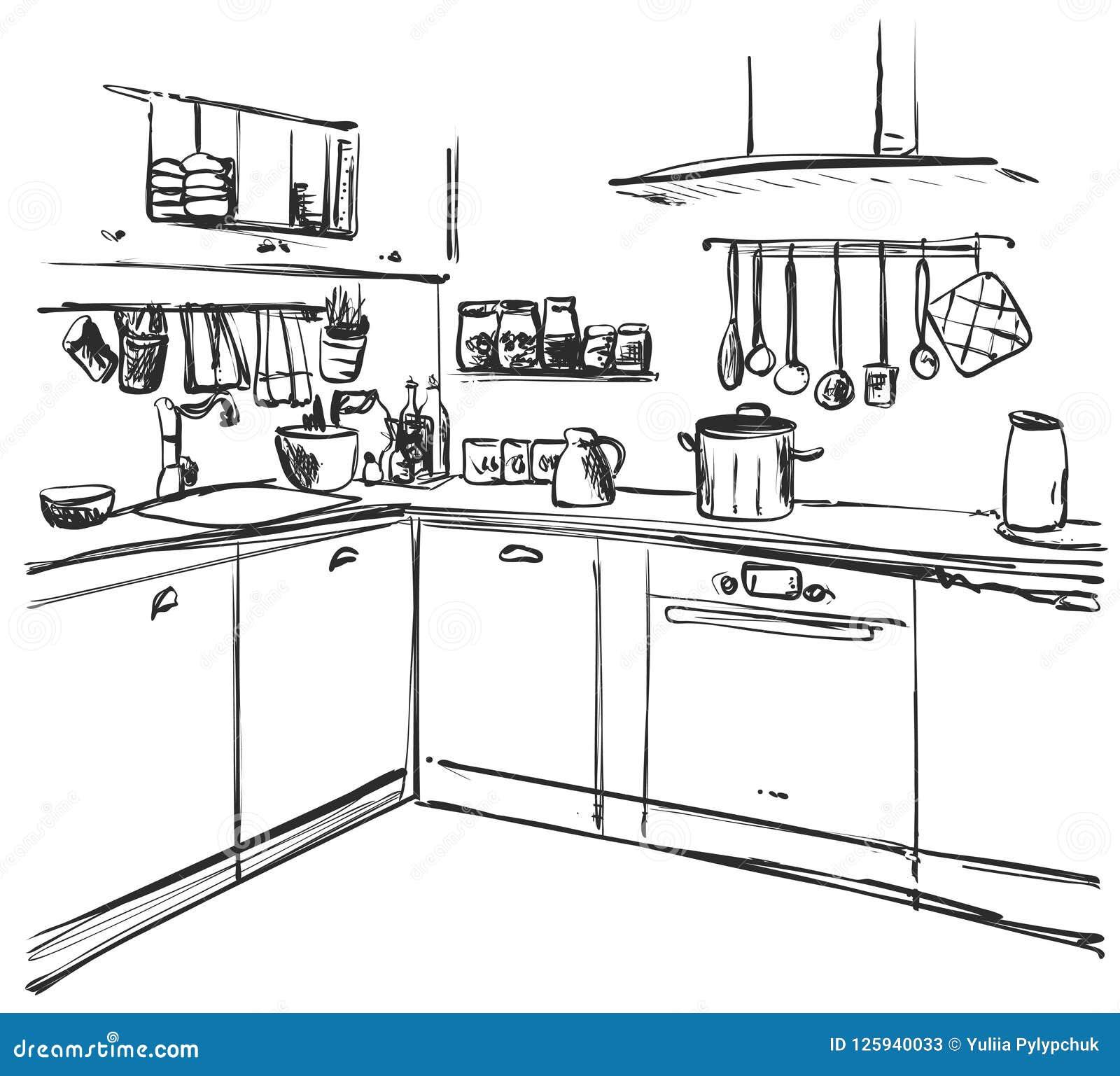 Dibujo interior de la cocina ejemplo del vector bosquejo - Cocina dibujo ...