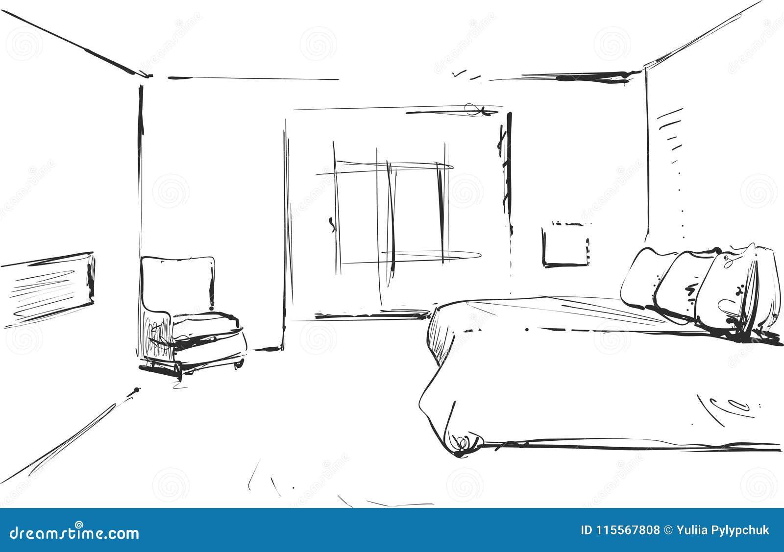 Dibujo Interior Moderno Del Vector Del Dormitorio Aislado En