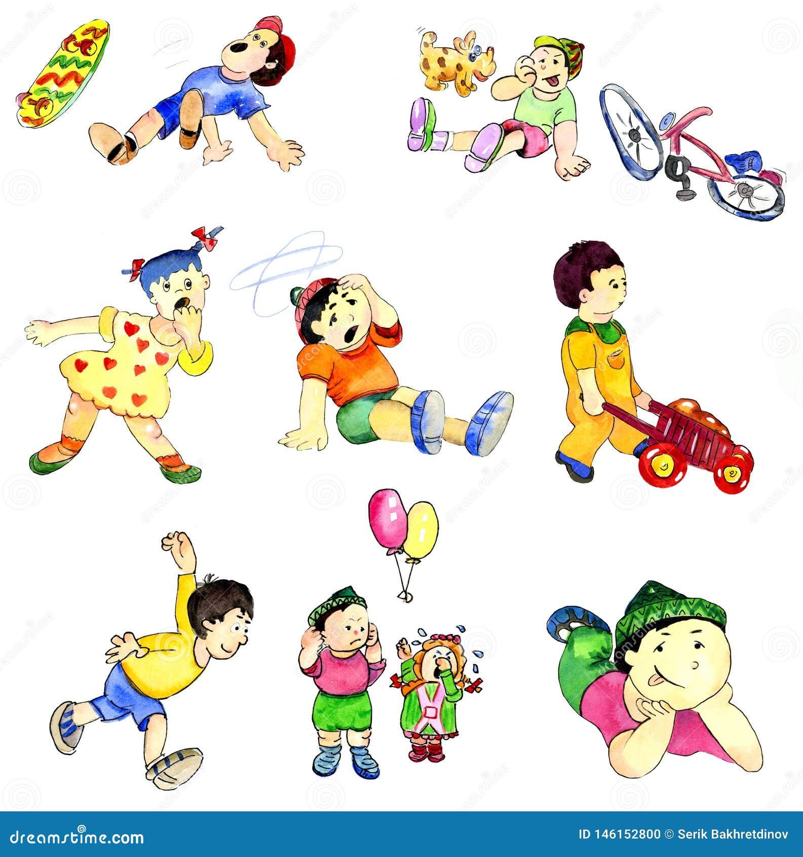 Dibujo jugando a niños en diversas situaciones del juego