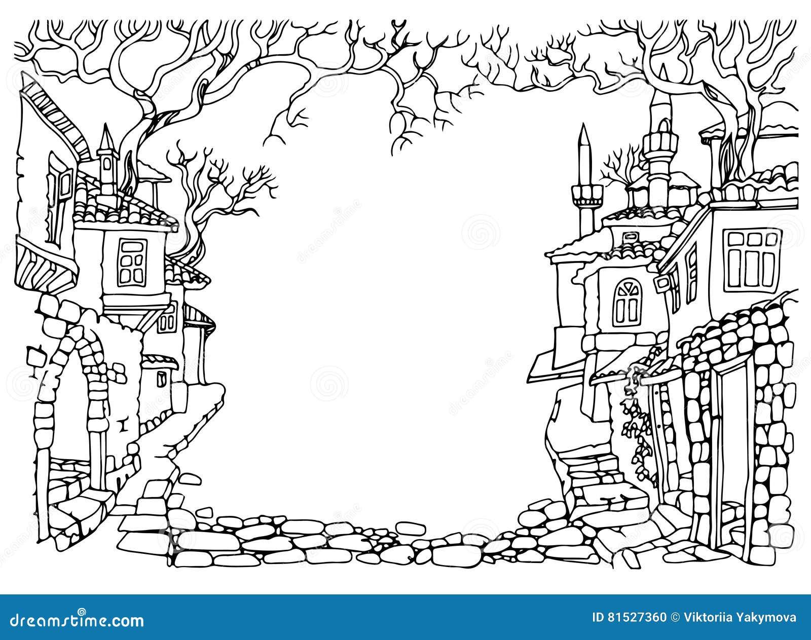 Dibujo lineal blanco y negro calle vieja de la ciudad oriental mano dibujada ilustraci n del for Dessin ville orientale