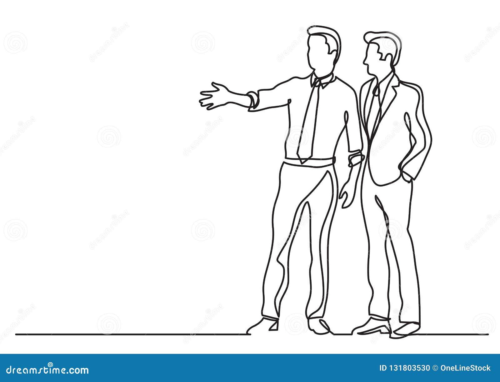 Dibujo lineal continuo de la situación de negocio - dos hombres de negocios que discuten planes