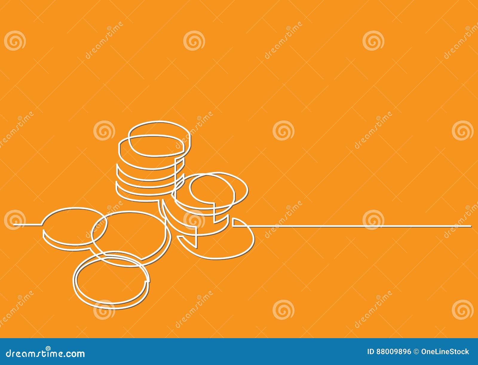 Dibujo Lineal Continuo De Las Monedas Del Dinero Ilustración Del
