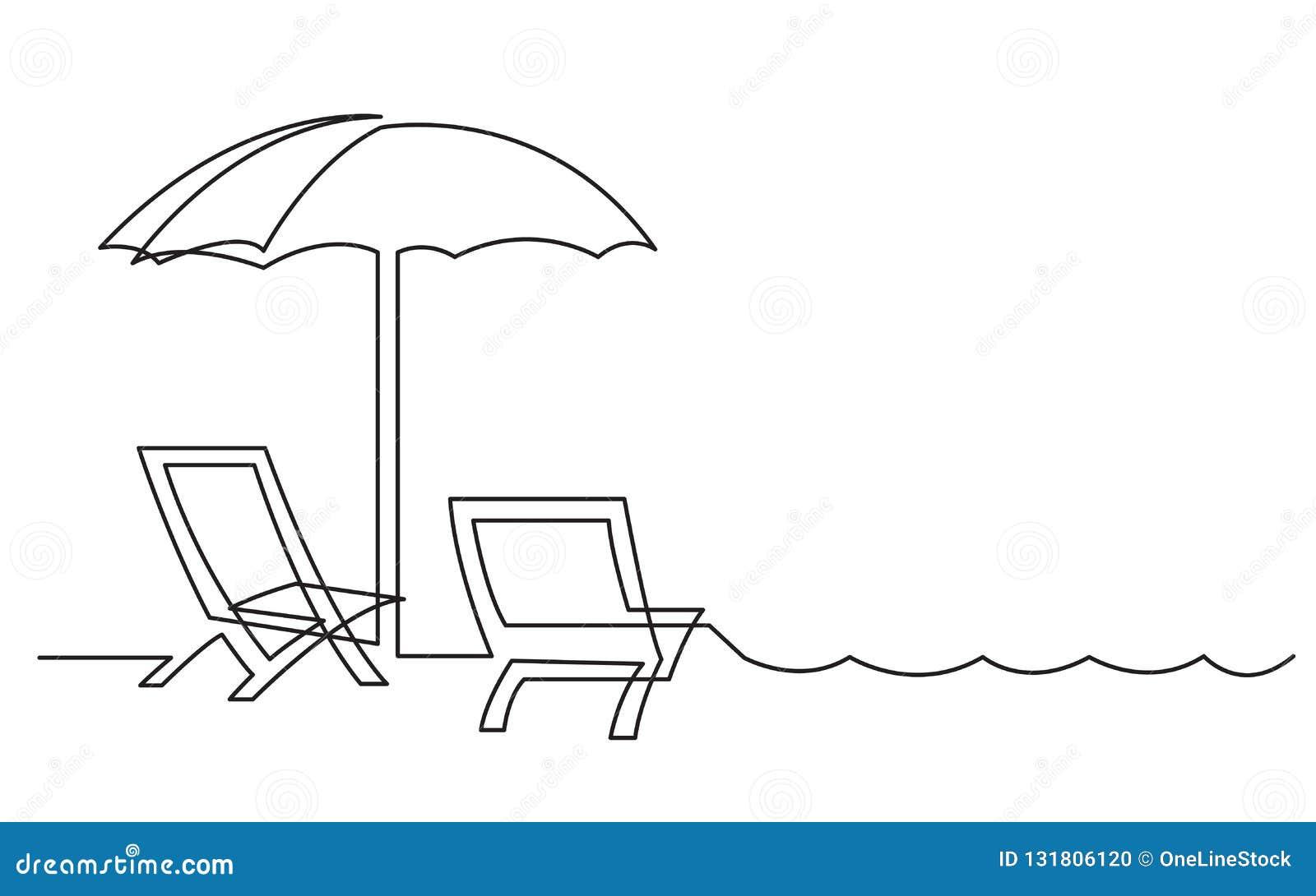Dibujo Lineal Continuo De Las Sillas De Playa Y De Las Ondas Del