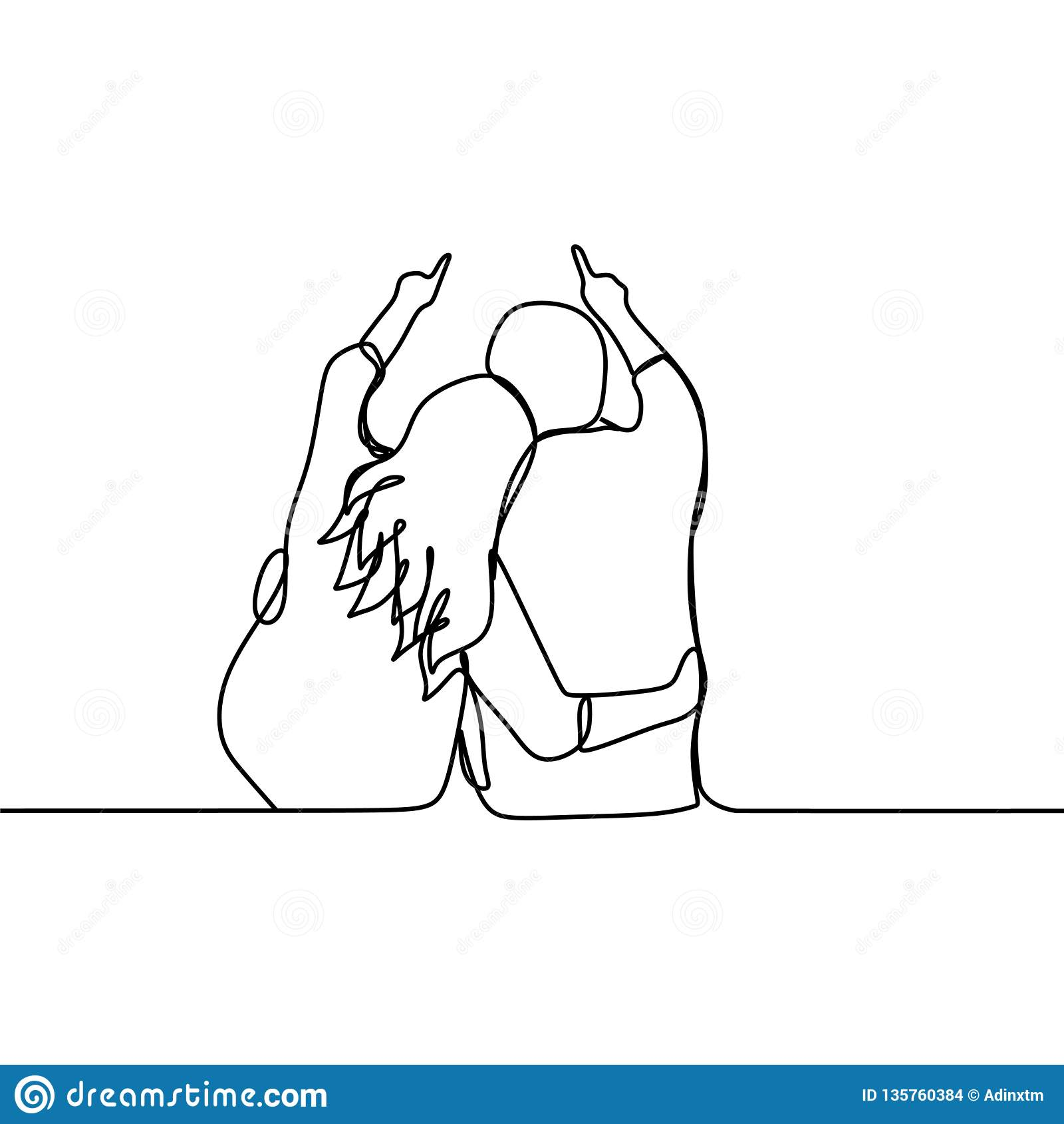 Dibujo Lineal Continuo De Los Pares Románticos Ejemplo Del
