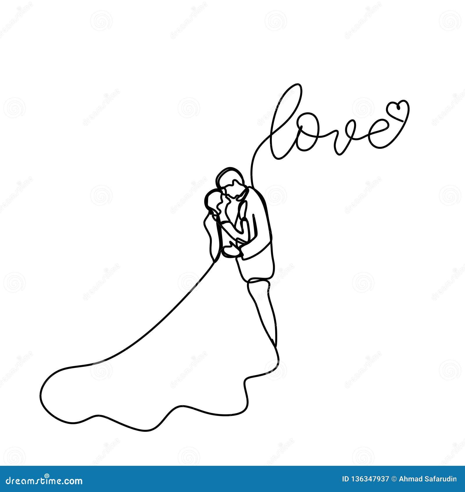Dibujo Lineal Continuo De Pares Románticos En Escardar El