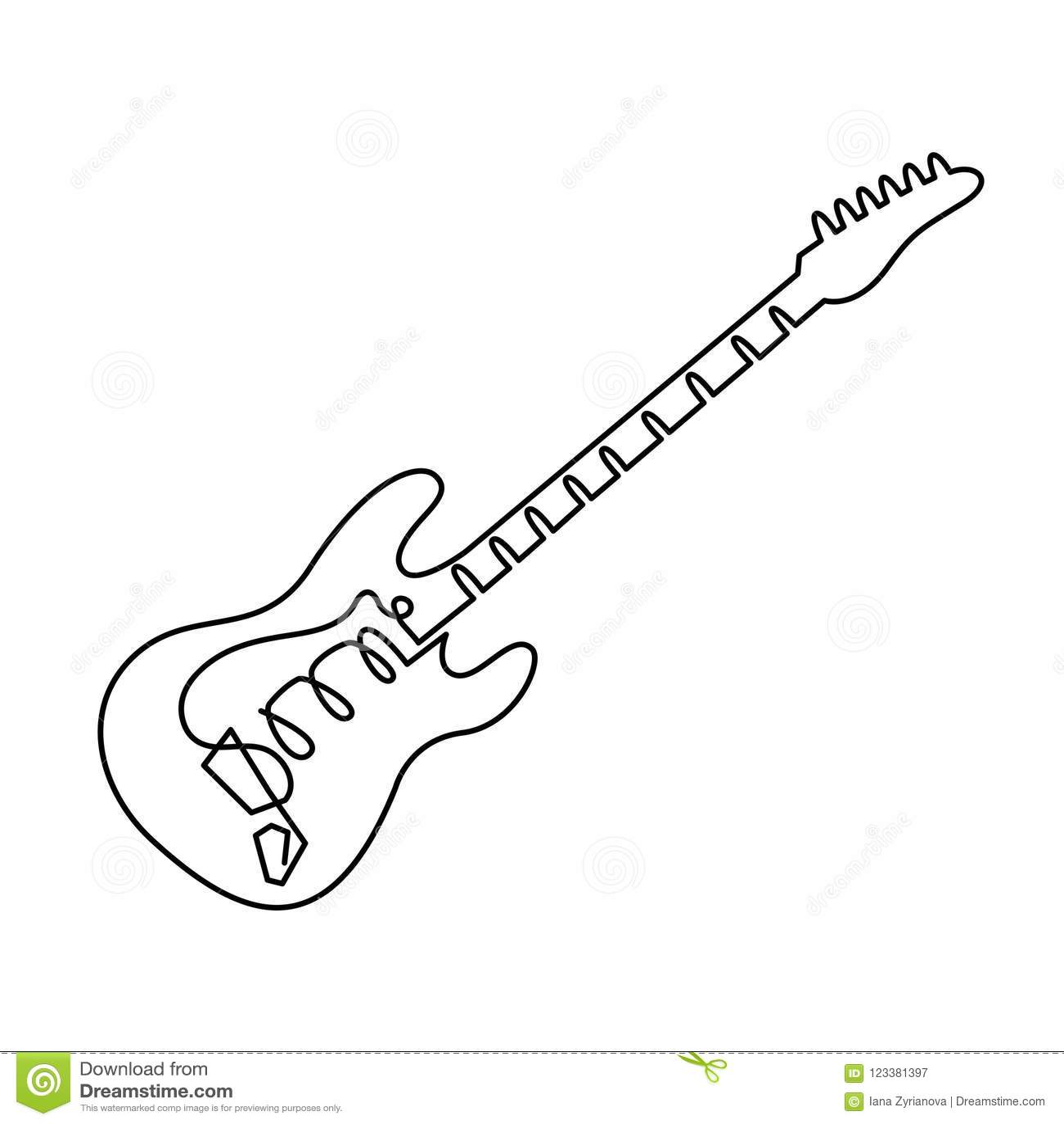 Dibujo Lineal Continuo Del Icono De La Guitarra Eléctrica