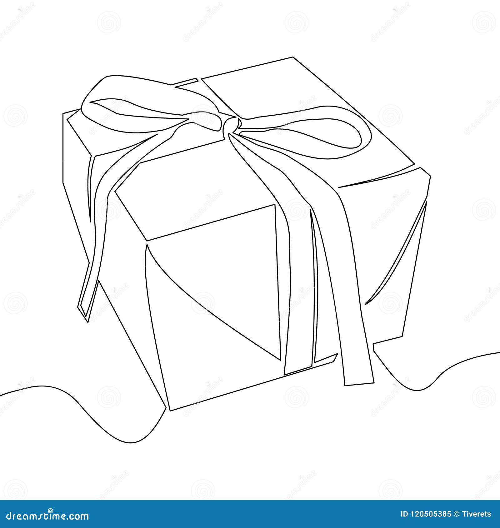 Dibujo Lineal Continuo Del Vector De La Caja De Regalo Ilustración