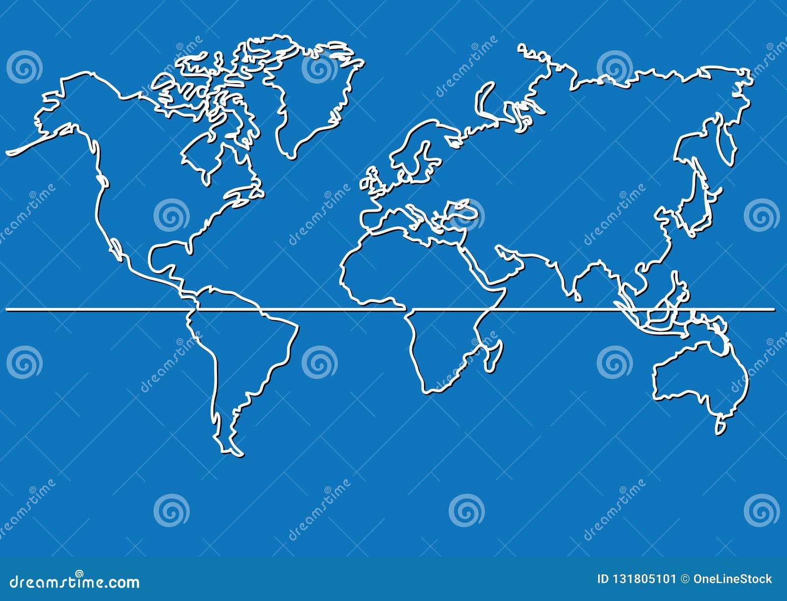 Dibujo Mapa Del Mundo Continentes.Dibujo Lineal Continuo Mapa Del Mapa Del Mundo Ilustracion