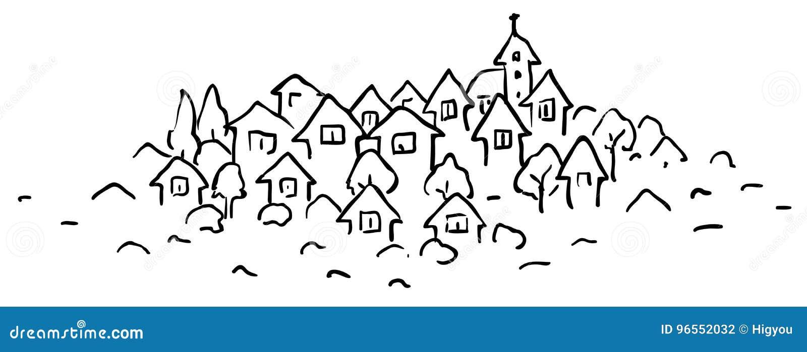 Dibujo lineal de la pequeña ciudad