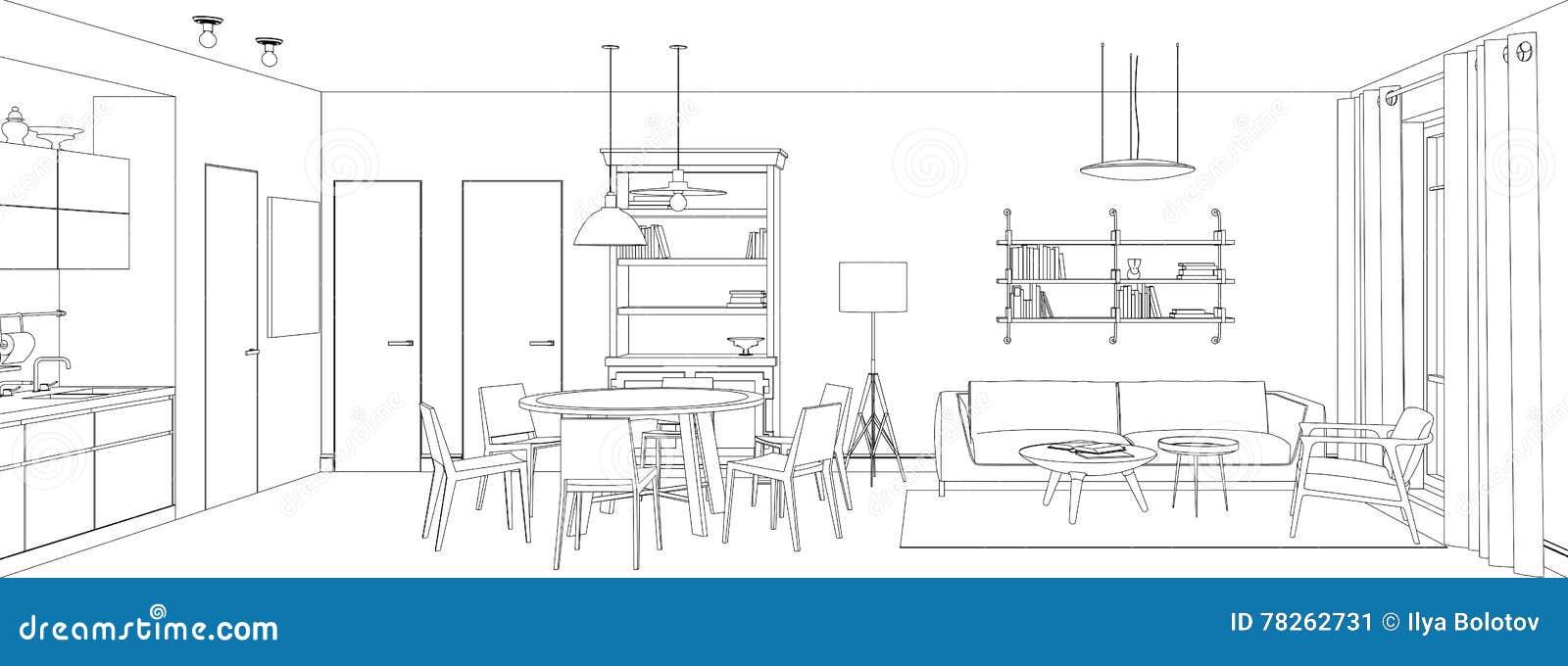 Dibujo lineal de la sala de estar ilustraci n del vector for Sala de estar dibujo