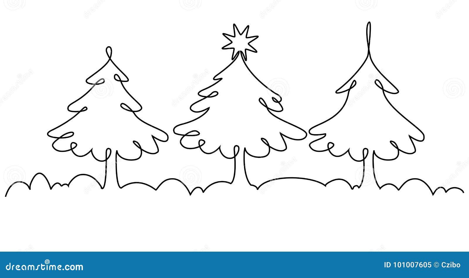 Dibujo Lineal Del árbol De Navidad Uno Ilustración del Vector ...