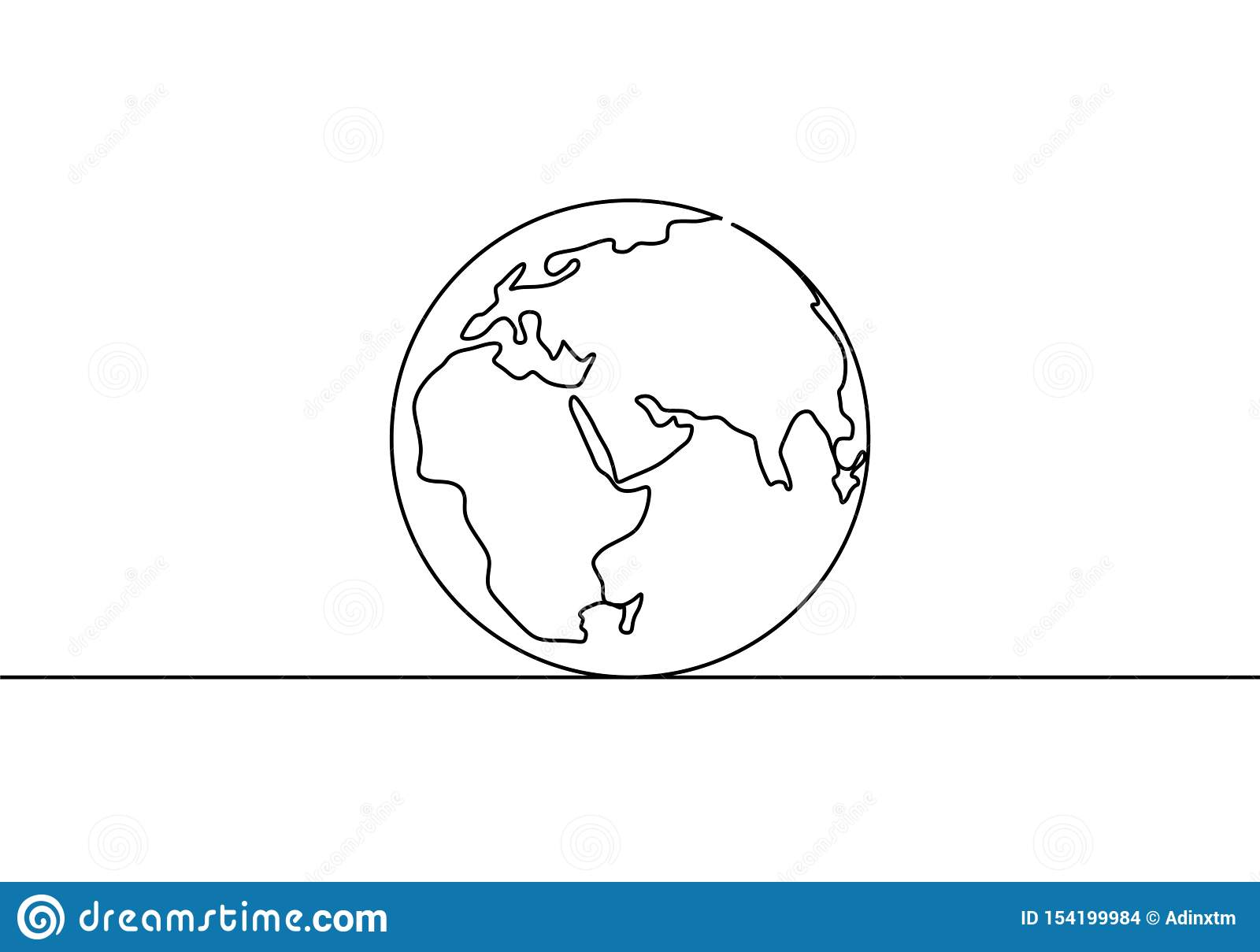 Dibujo lineal del globo uno de la tierra del diseño minimalista del ejemplo del vector del mapa del mundo de minimalismo aislado