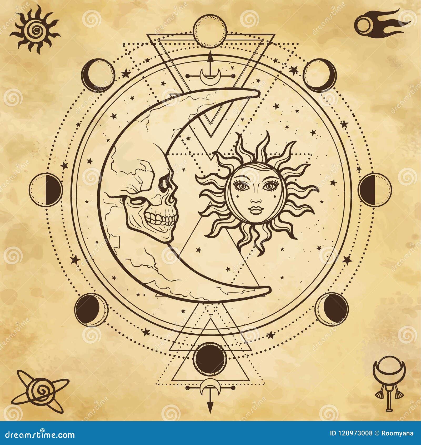Dibujo Místico Sol Y Luna Con Los Rostros Humanos Círculo De Una