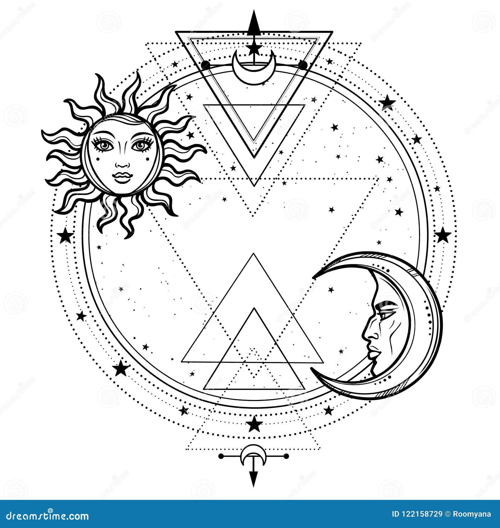 Dibujo Místico Sol Y Luna Con Los Rostros Humanos Un Círculo De La