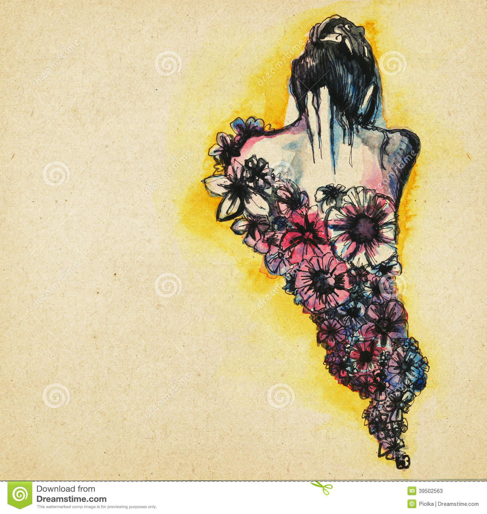 Dibujo Moderno Hermoso De La Mujer Stock De Ilustración