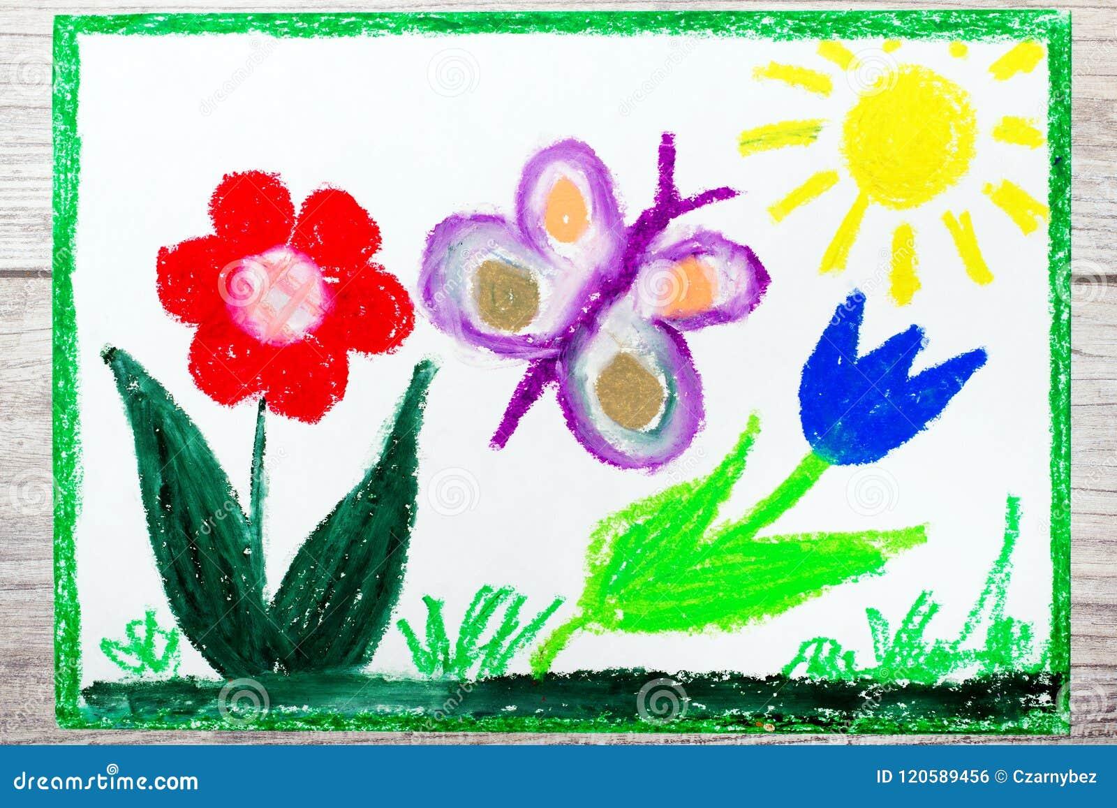 Dibujo Primavera Mariposa Y Flores Lindas Stock De Ilustración