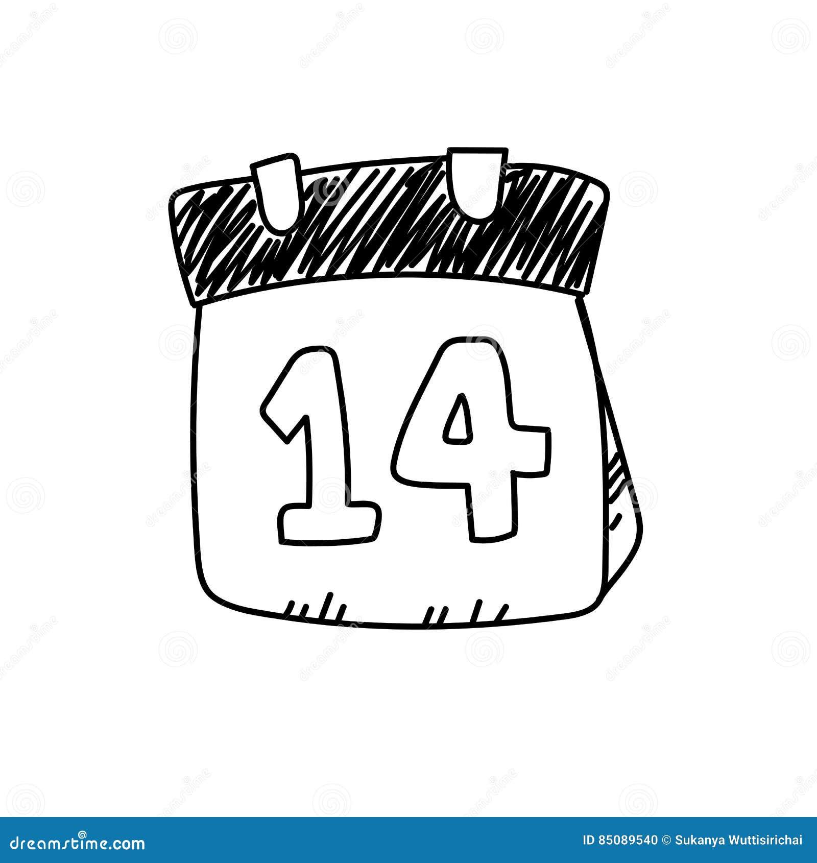 Dibujo A Pulso Ejemplo Del 14 De Febrero Stock De Ilustración
