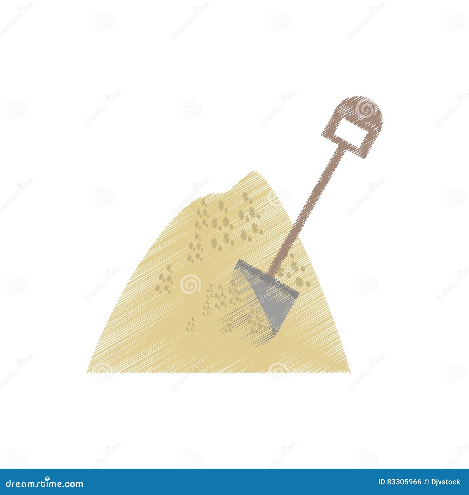 Dibujo Que Mina La Pala Mineral De La Pila De La Arena Stock De