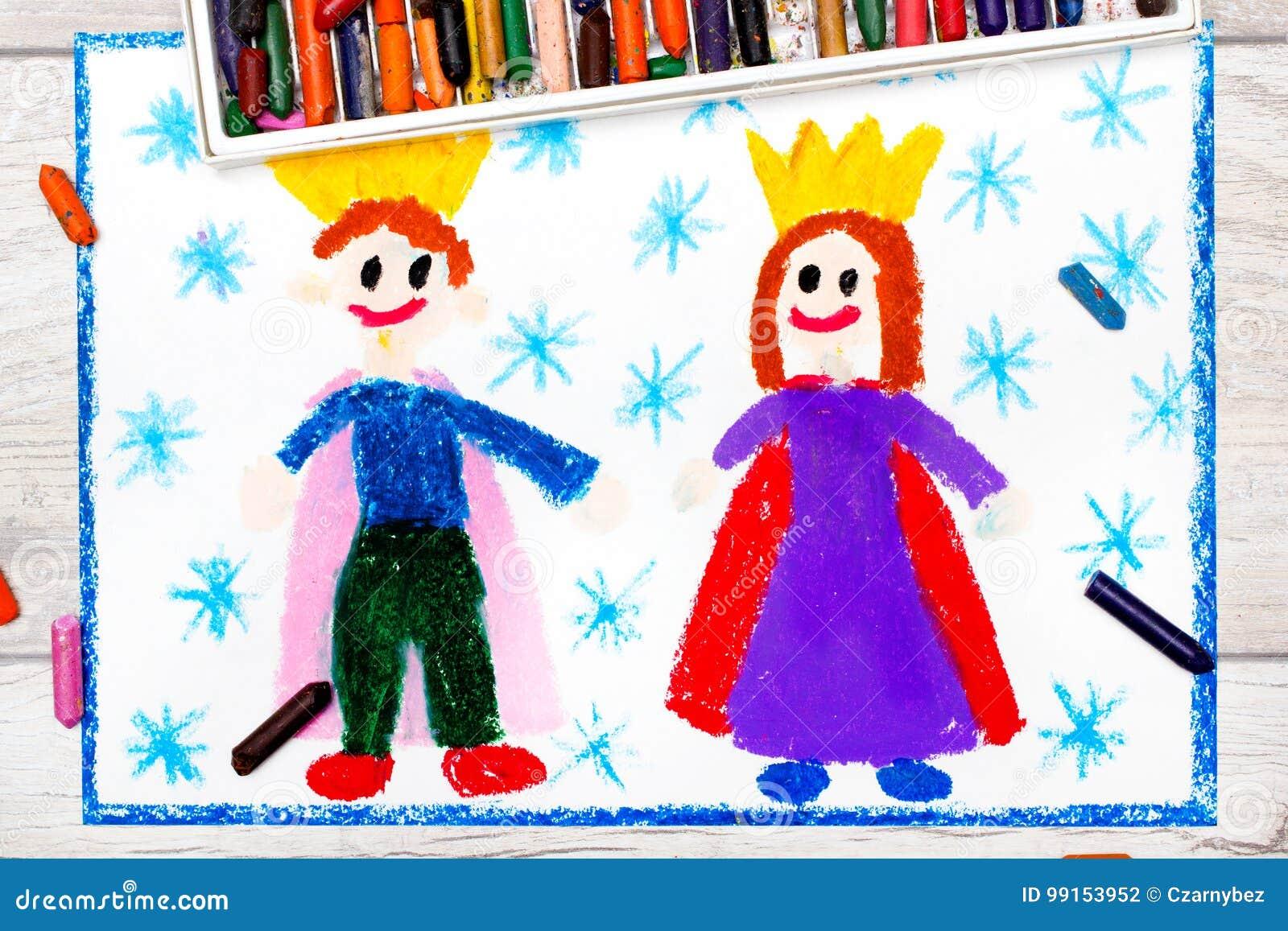 Dibujo Rey Y Reina Sonrientes Con Sus Coronas Stock De Ilustración